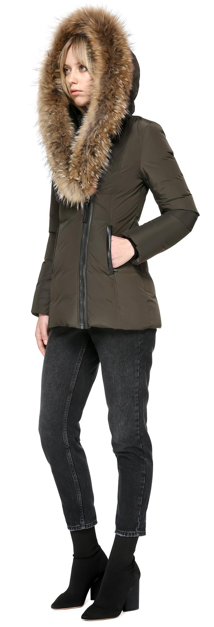 1c61cb364b18 Lyst - Mackage Adali Fitted Winter Down Coat With Fur Hood In Army ...