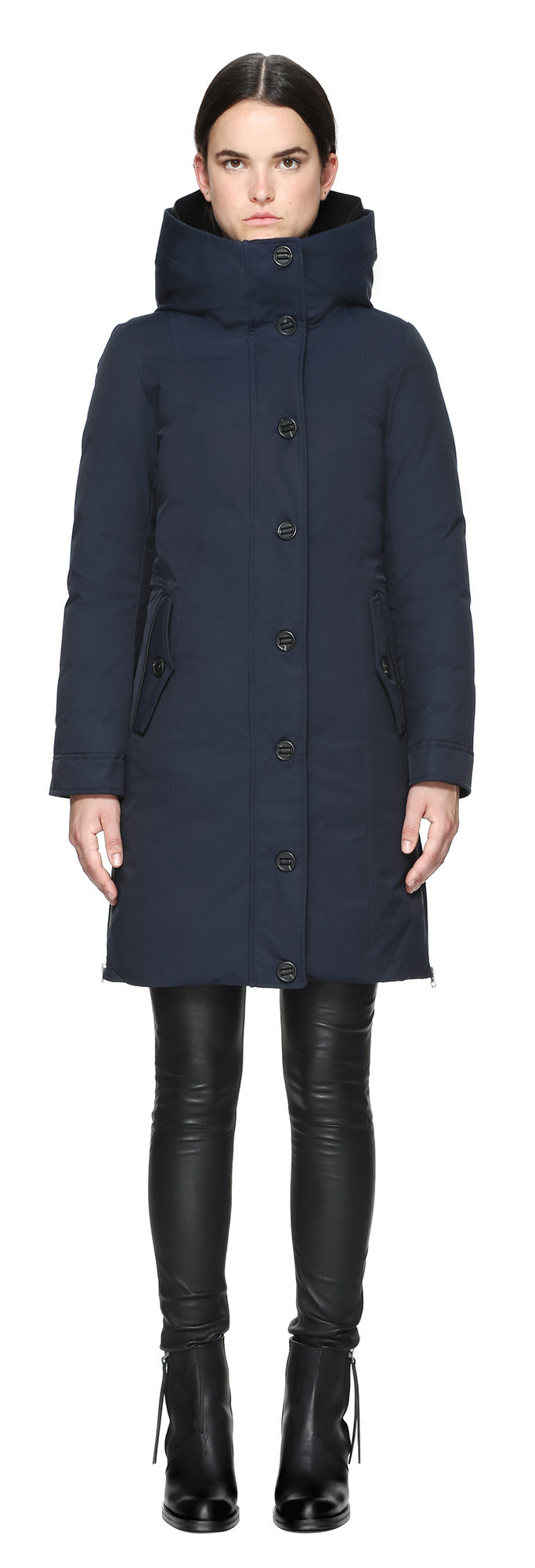 Mackage Nimah Knee Length Parka Style Winter Down Coat In Navy in ...