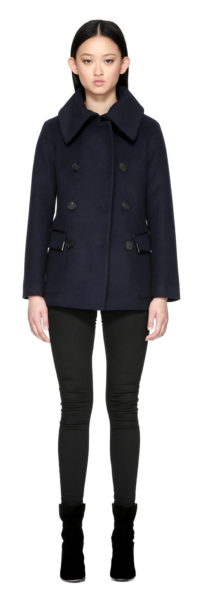 Mackage Phoebe Hip Length Flat Wool Coat In Navy in Blue | Lyst