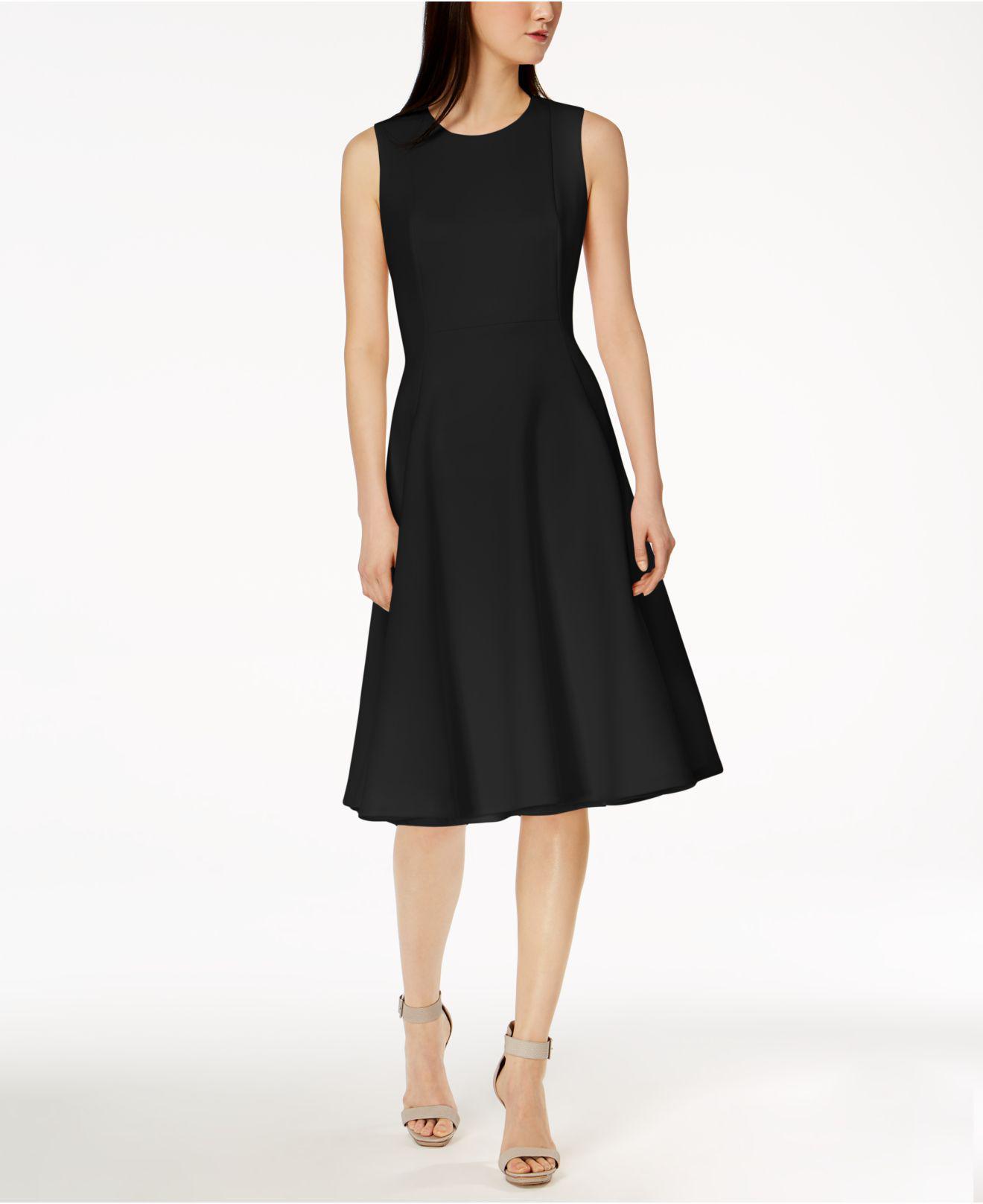 Lyst - Calvin Klein 205W39Nyc Scuba Midi Fit & Flare Dress in Black