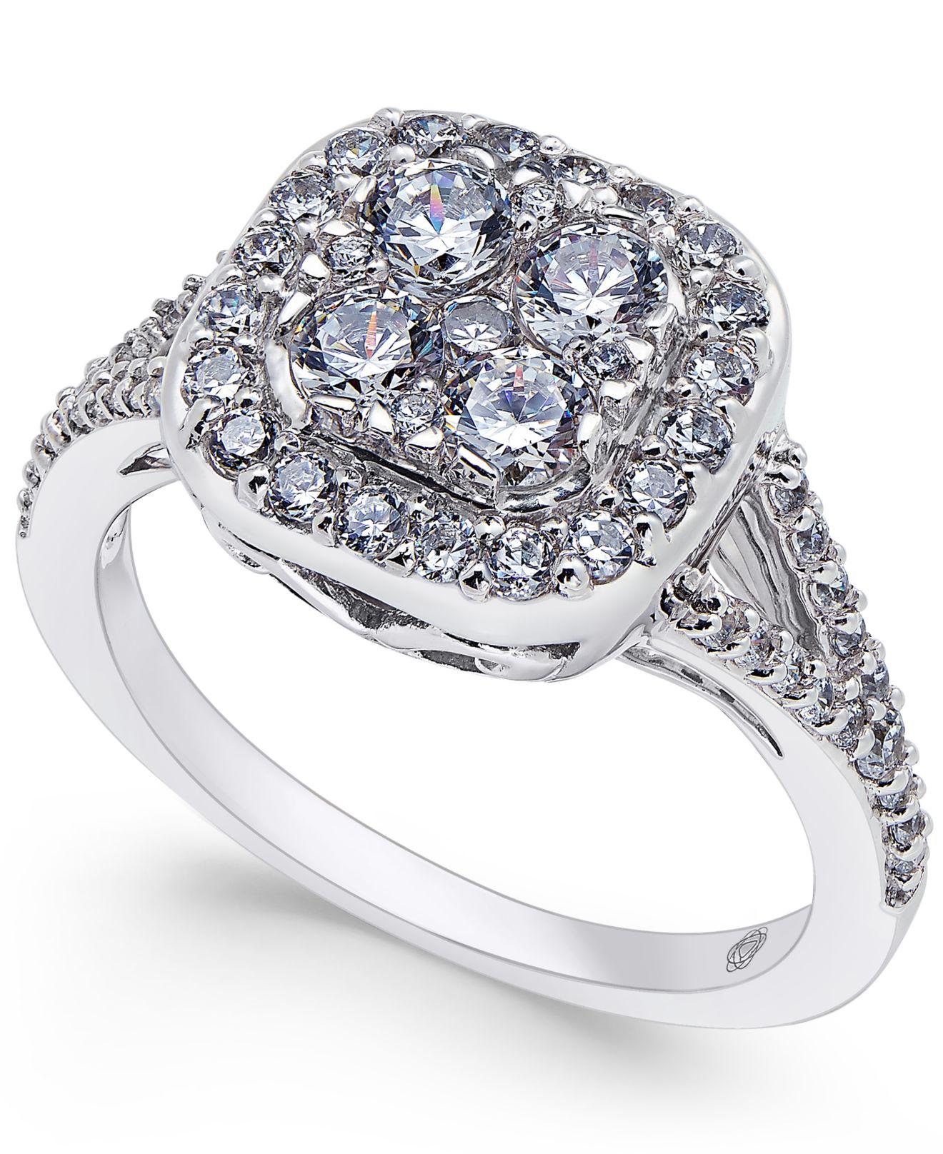Macy's Diamond Cluster Engagement Ring (1 Ct. T.w.) In 14k