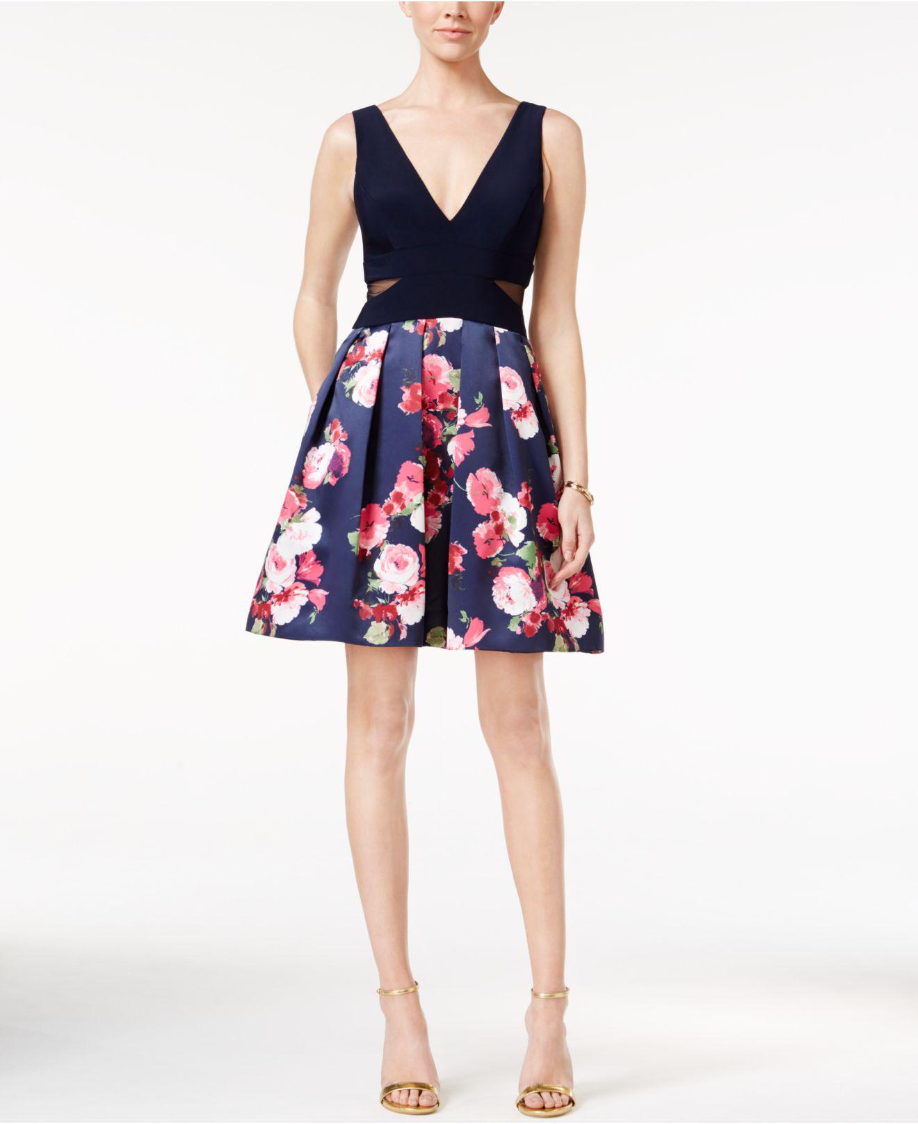 1d54087e Xscape Floral-print Fit & Flare Dress in Blue - Lyst