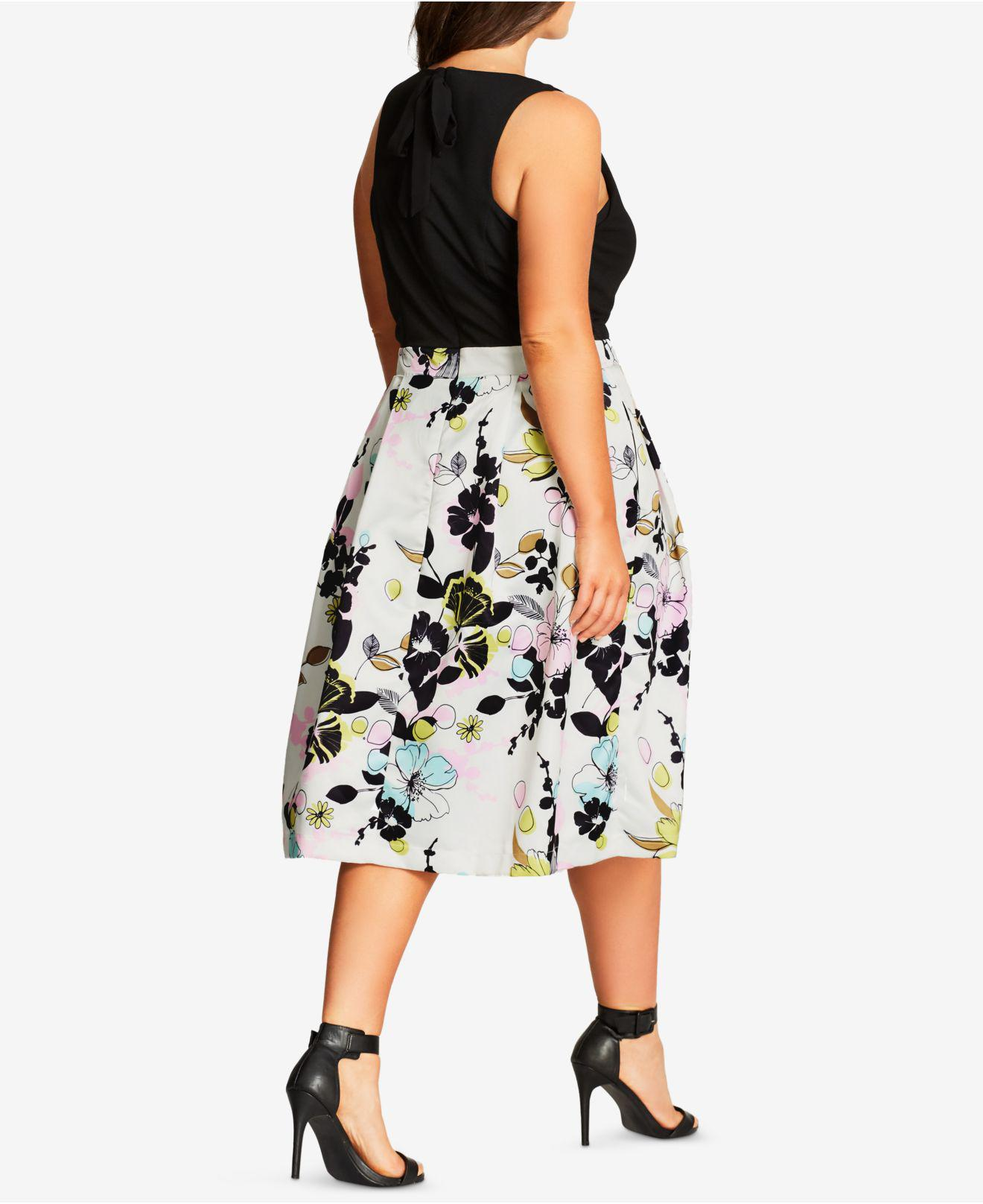 16044f27e3 City Chic Trendy Plus Size Floral-print Fit & Flare Dress in Black - Save  50% - Lyst