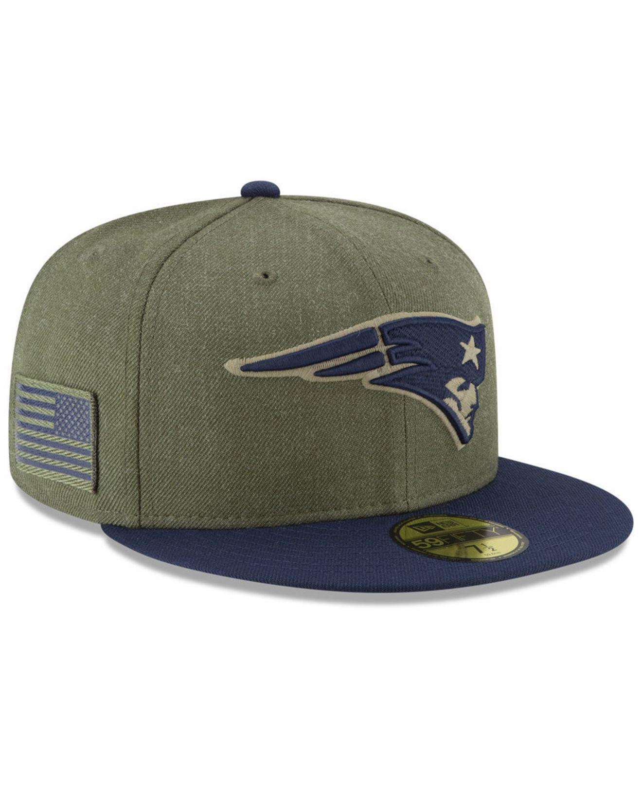 KTZ. Men s Green New England Patriots Salute To Service 59fifty Fitted Cap 4a654bd71