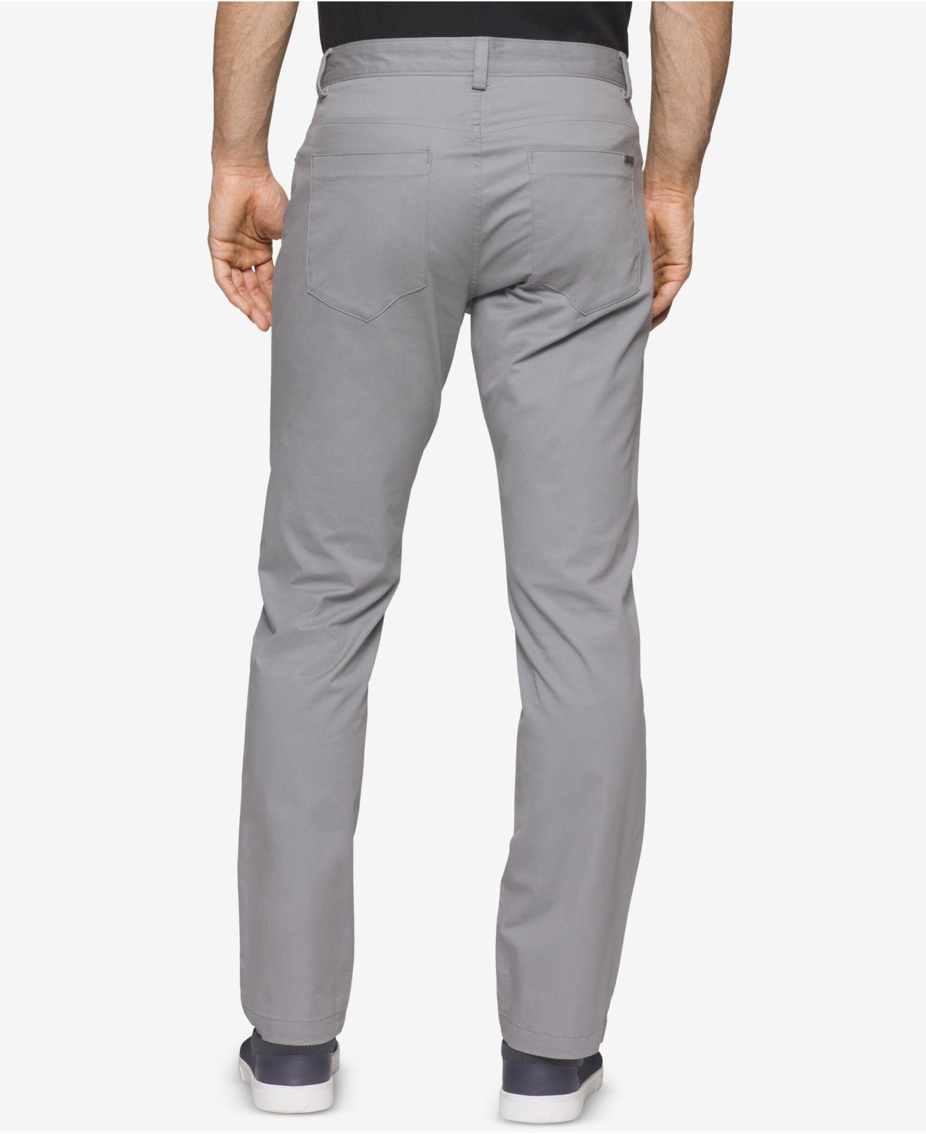 Calvin Klein Cotton Pants Sateen Slim Fit Pants In Gray
