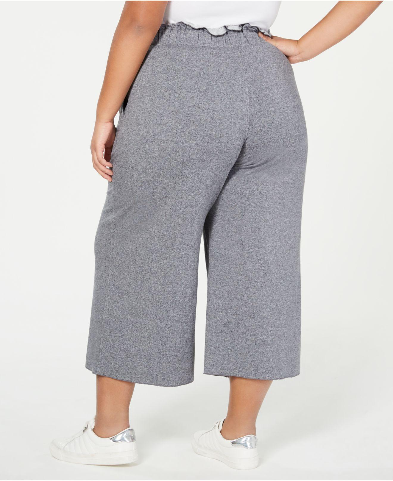 3f6ab69571e Lyst - Calvin Klein Performance Plus Size High-waist Cropped Pants in Gray