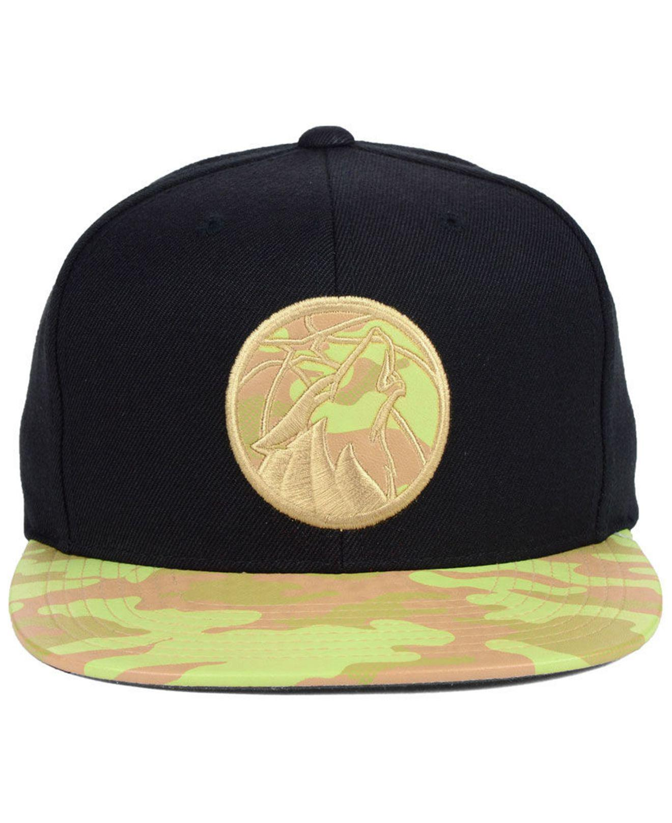separation shoes ed064 ea9b2 Mitchell   Ness Minnesota Timberwolves Natural Camo Snapback Cap in ...