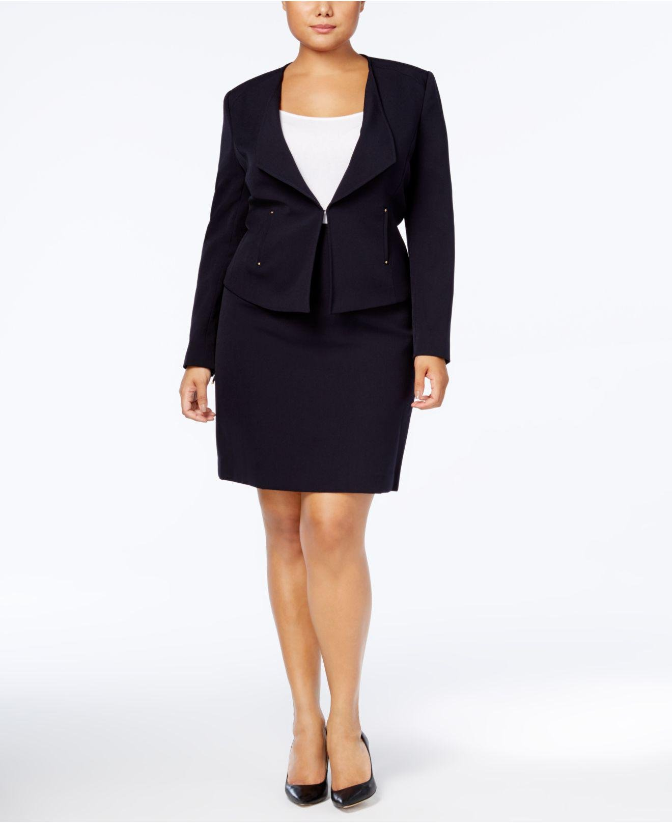 Lyst Tahari Plus Size Riveted Kiss Front Skirt Suit In Blue