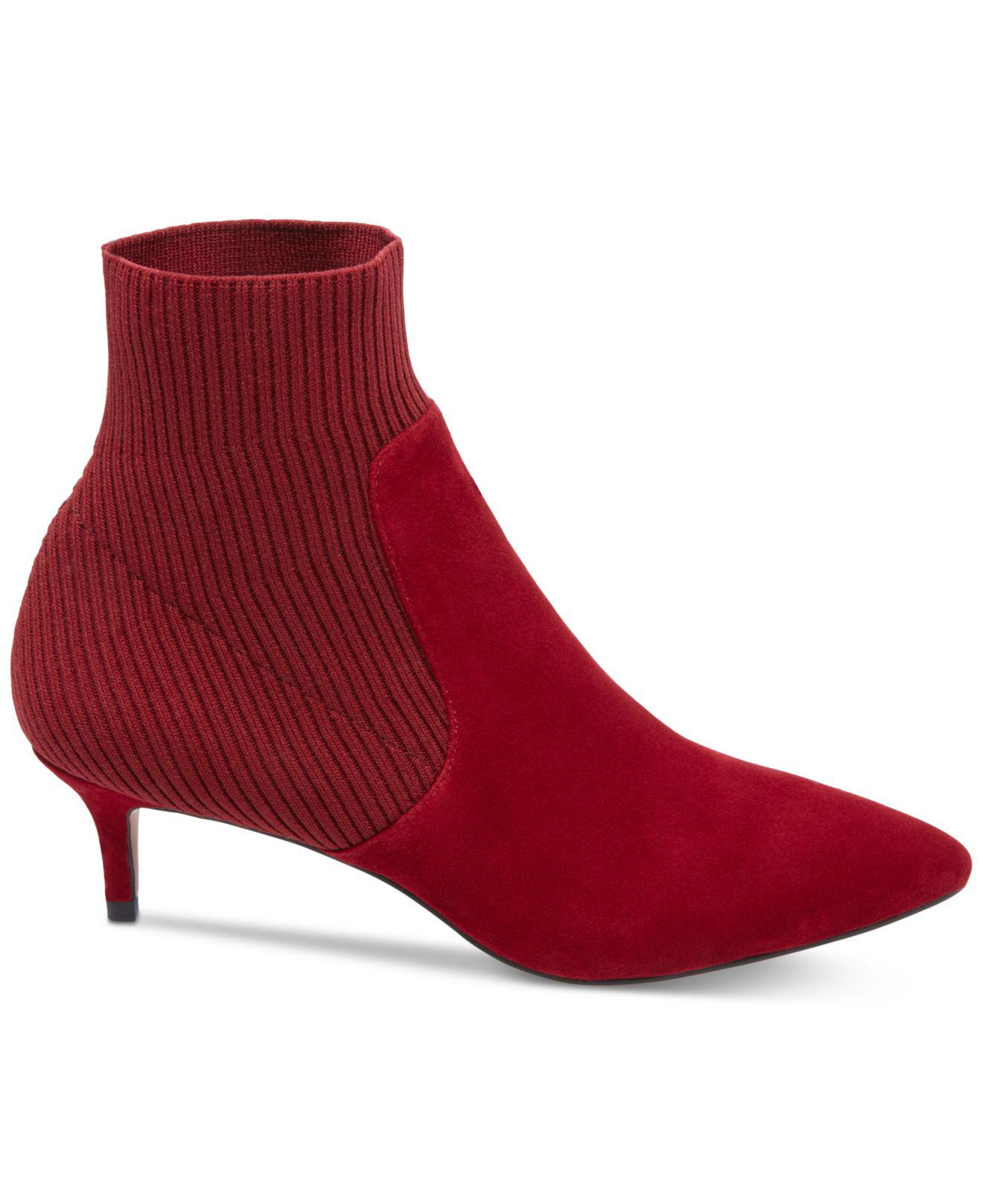 d4627d3a881 Lyst - Steven by Steve Madden Kagan Stretch Kitten-heel Booties in Red -  Save 66%