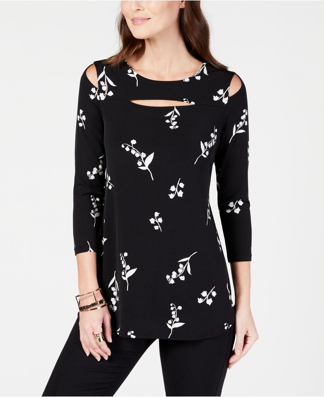 d918d02cf75e5 Alfani. Women s Black Printed Cutout Tunic