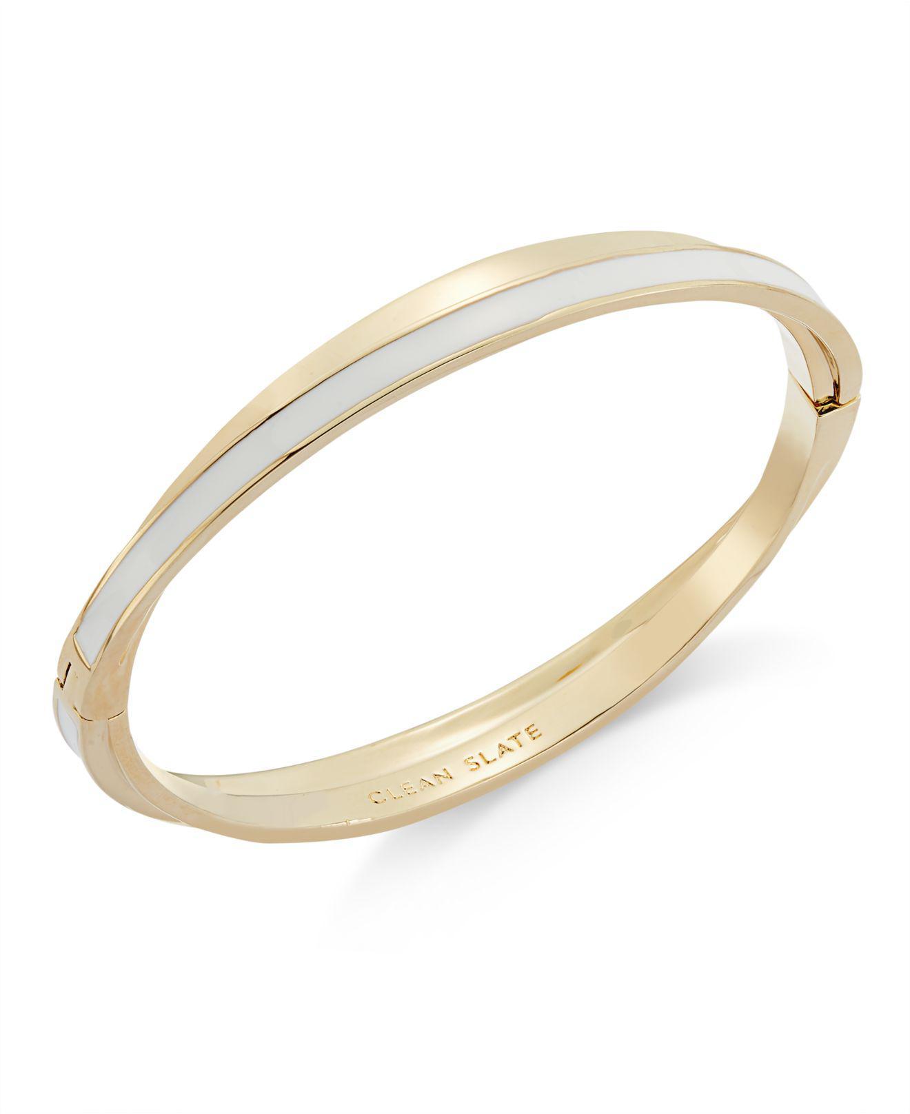0b15da77c3f Kate Spade Gold-tone Enamel Twisted Hinged Bangle Bracelet in White ...