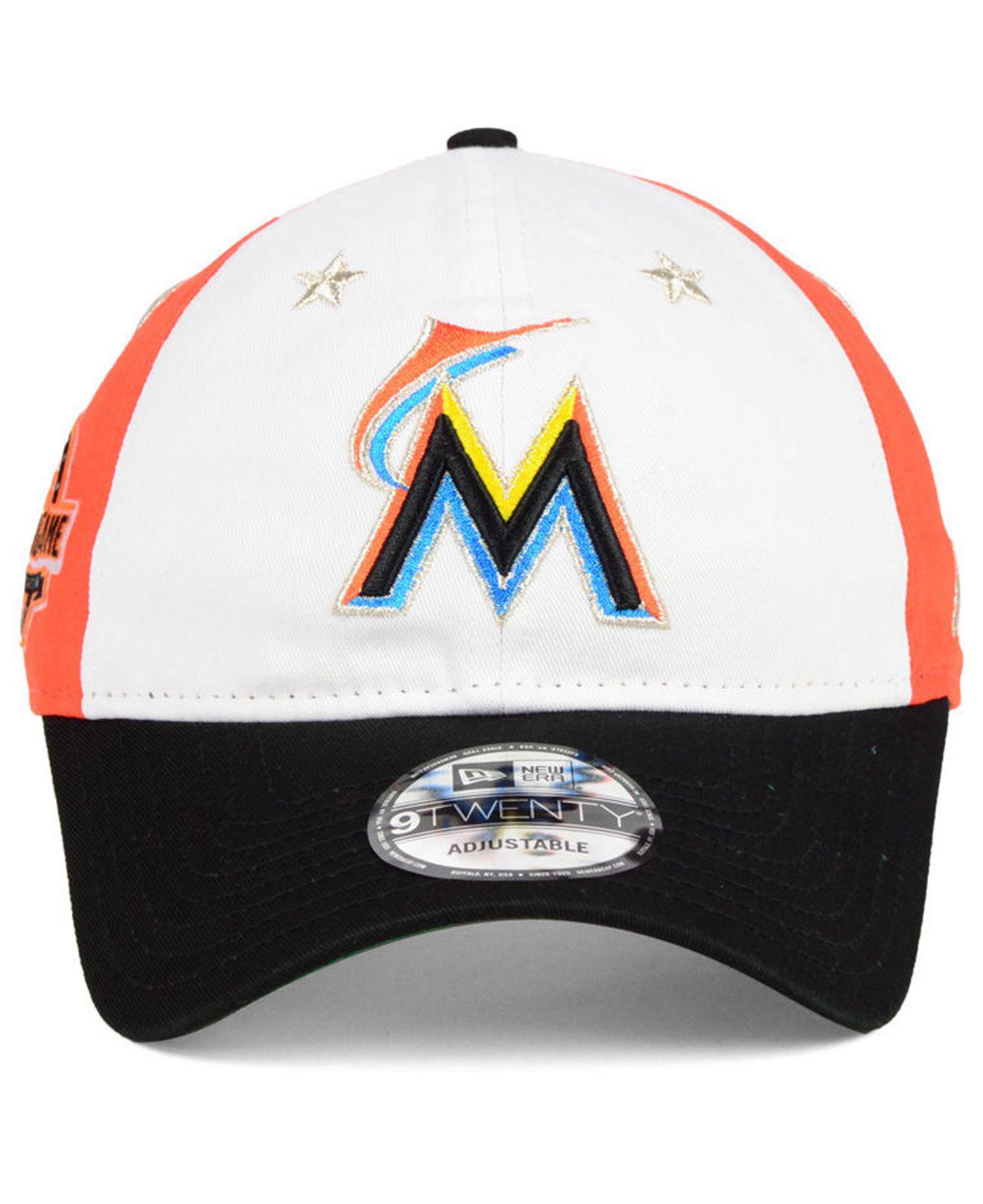 newest 735f3 aa59a best price lyst ktz miami marlins all star game 9twenty strapback cap 2018  in black for