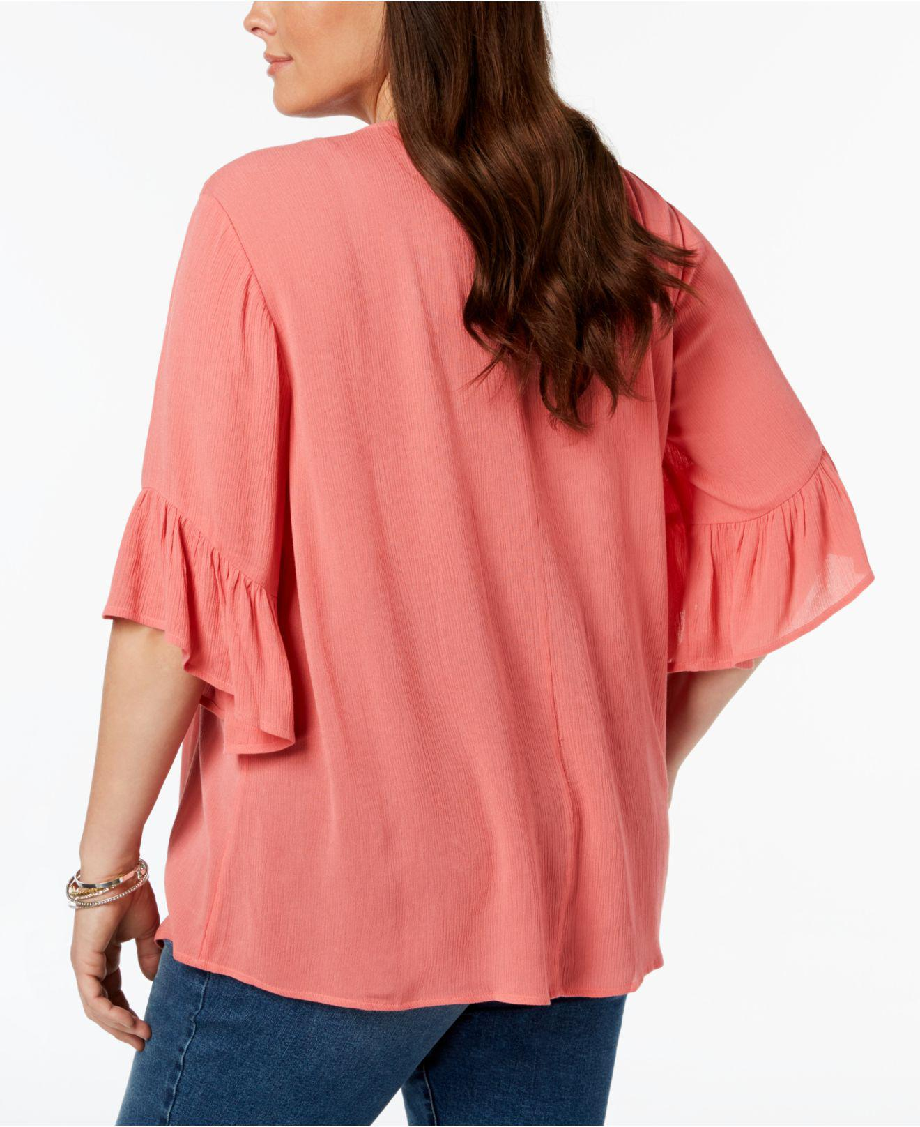 Style /& Co Women/'s Plus Size Pintucked Ruffled Peasant Top