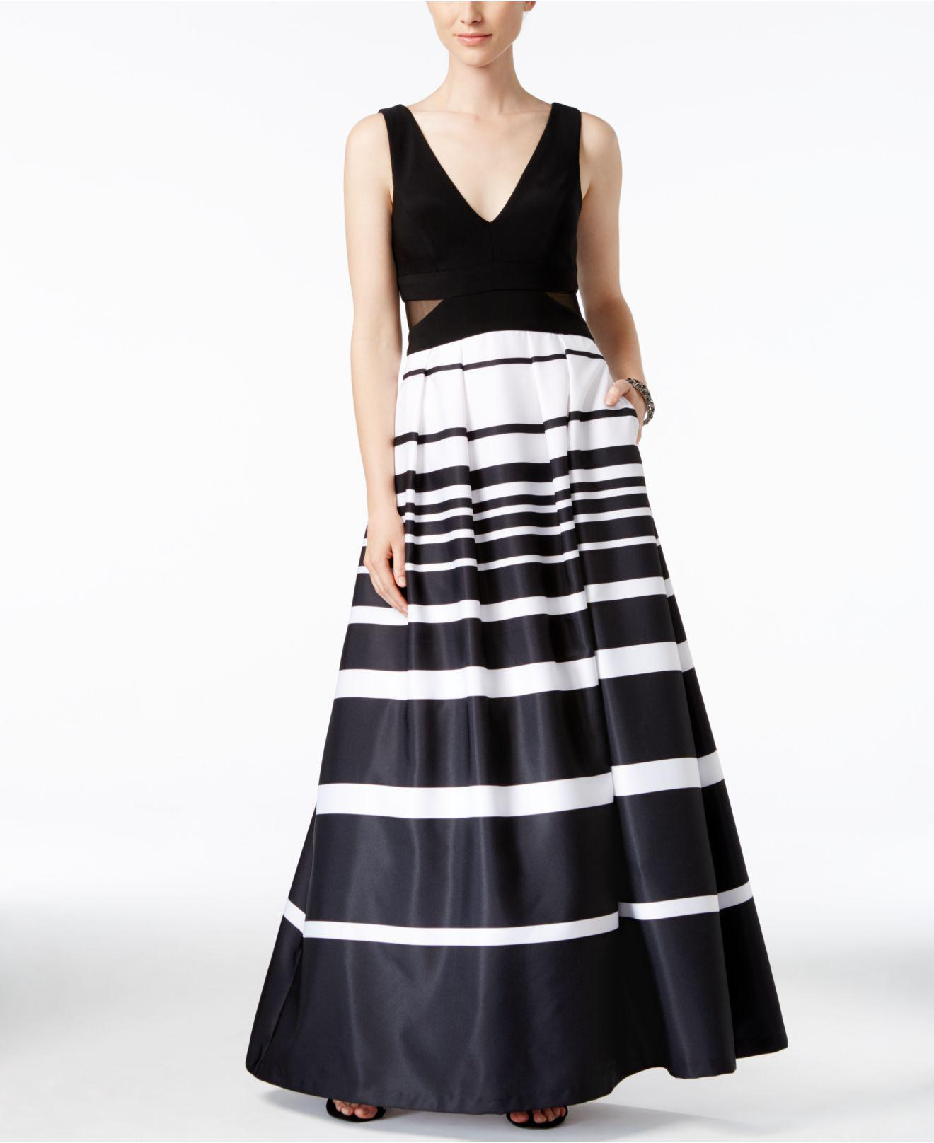 Lyst - Xscape Petite Illusion-inset Striped Ball Gown in White