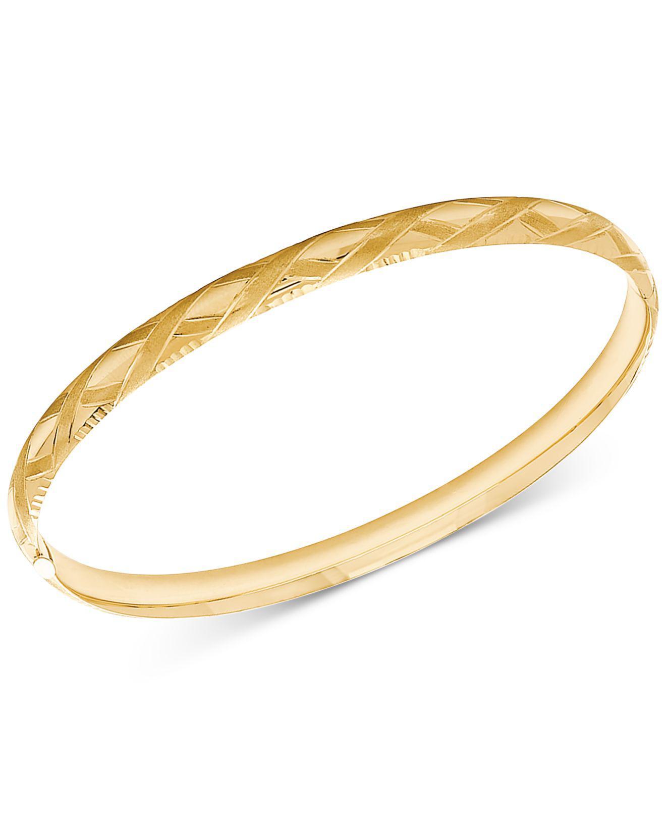 0b3577161ac2d Women's Metallic Patterned Bangle Bracelet In 14k Gold