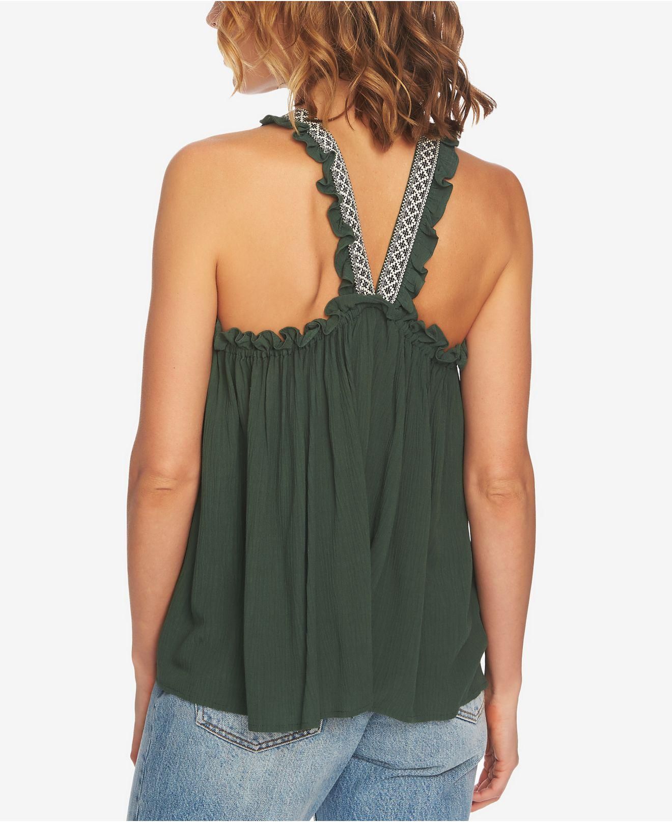 fb08eaa950c2 Lyst - 1.STATE Embroidered Crinkle Gauze Babydoll Top in Green