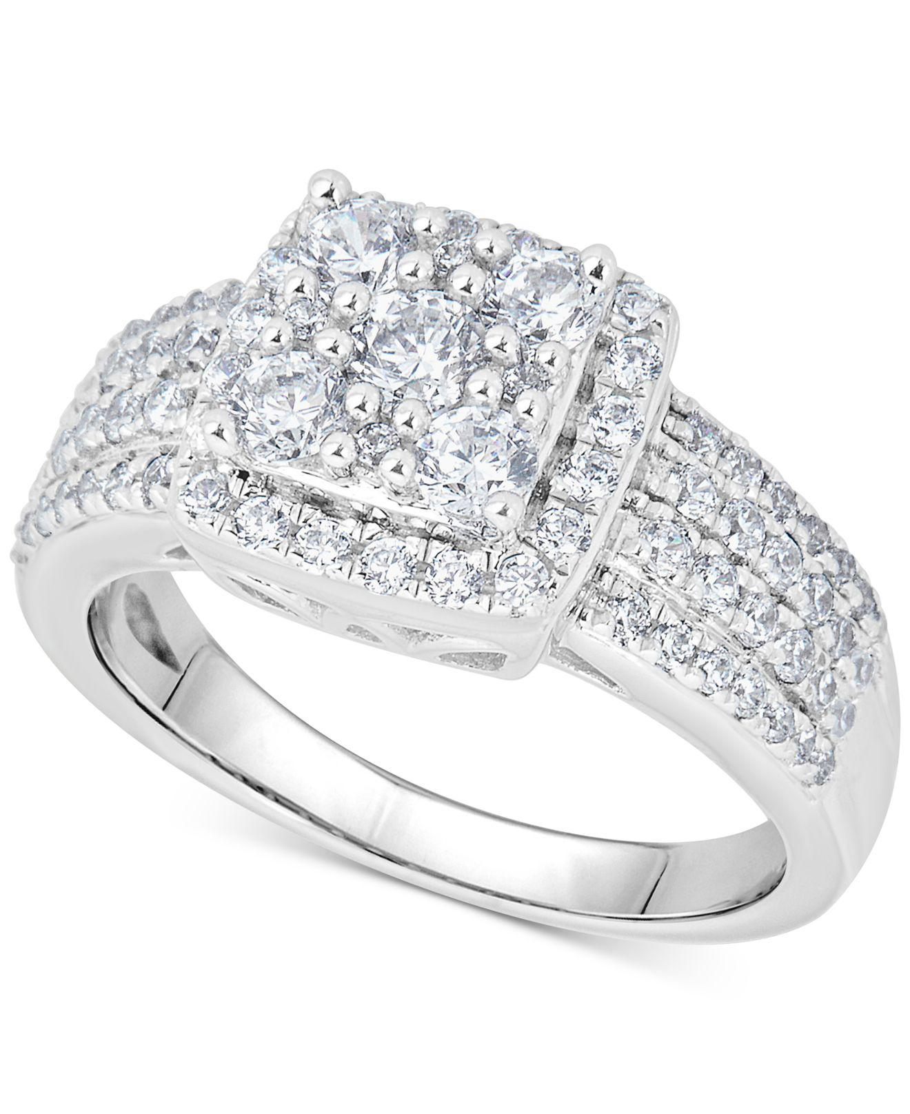 Macy's Diamond Halo Square Cluster Ring (1 Ct. T.w.) In