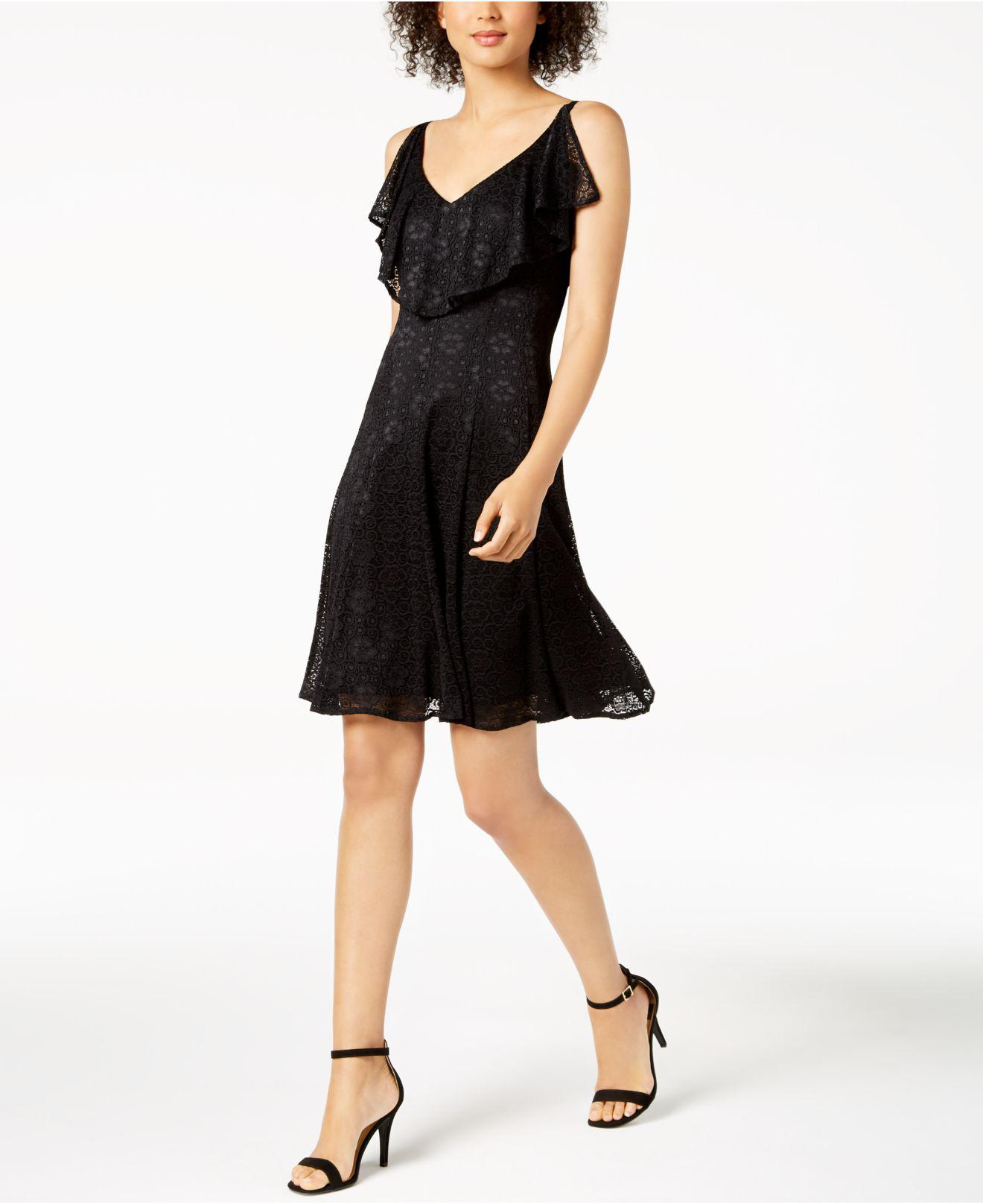 fa178787a66a3 Lyst - Nine West Ruffled Lace A-line Dress in Black