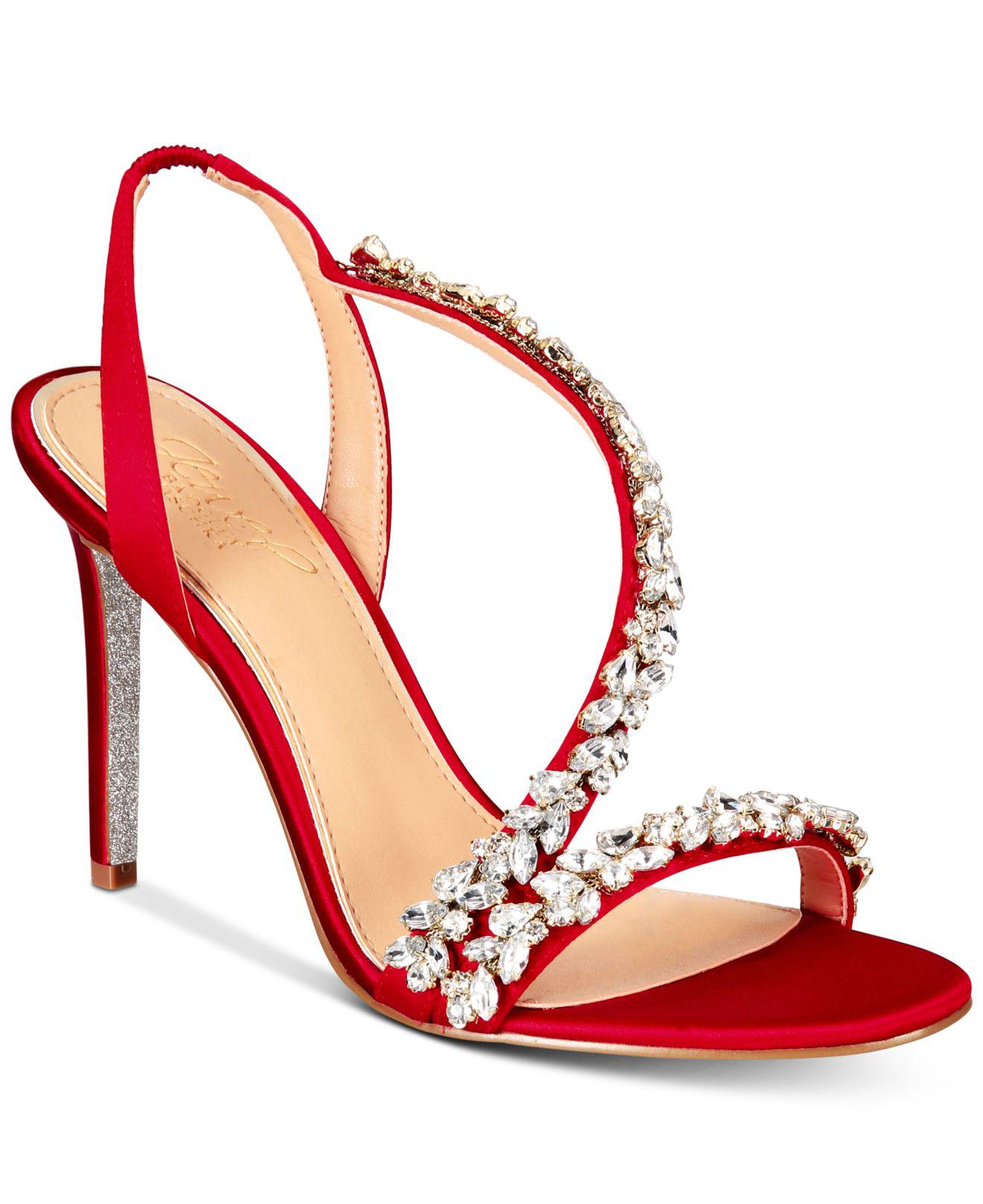 144d58d73a8 Lyst - Badgley Mischka Java Embellished Evening Sandals in Red