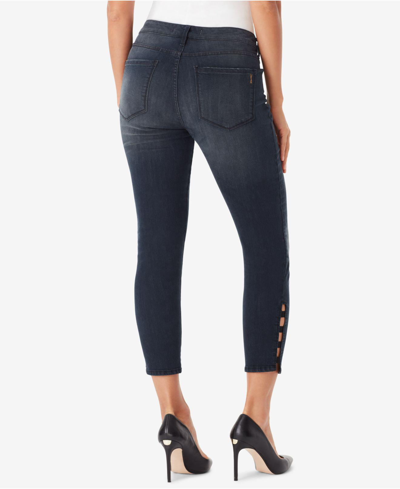 1db45353e66 Lyst - Vintage America Juniors  Wonderland Lattice Skinny Jeans in Blue