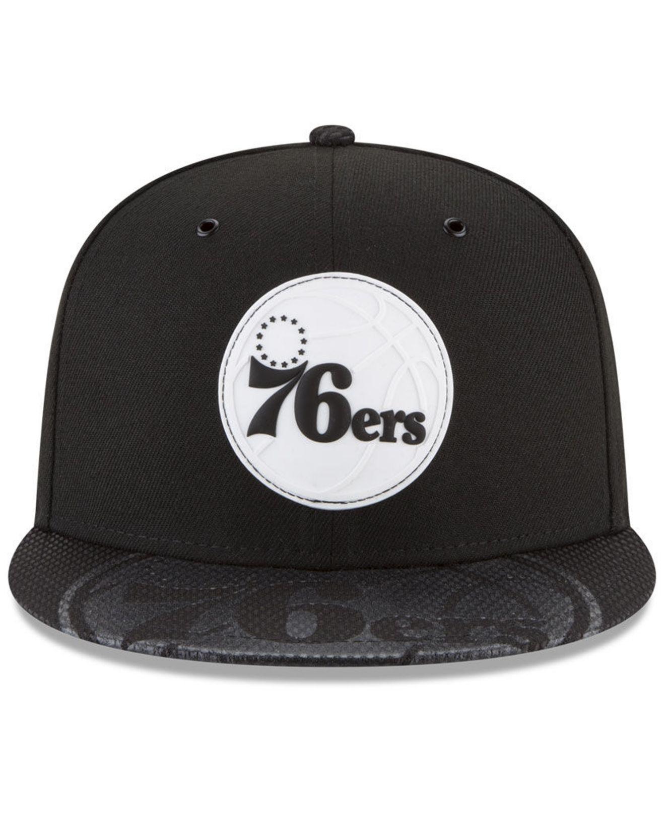 the latest 40460 9d220 ... canada lyst ktz philadelphia 76ers back 1 2 series 9fifty snapback cap  in black for men