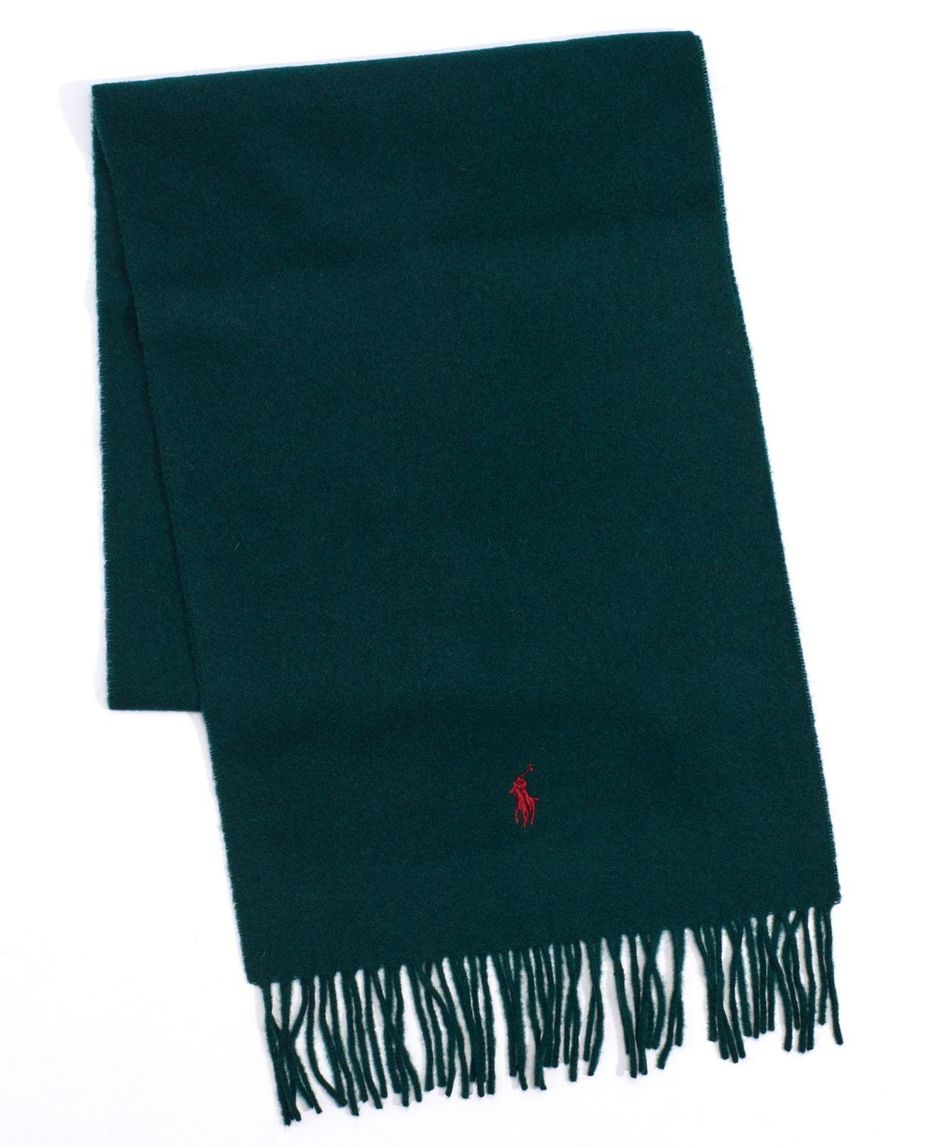 Polo Ralph Lauren Solid Wool Muffler With Fringe Trim In Green For Men Lyst
