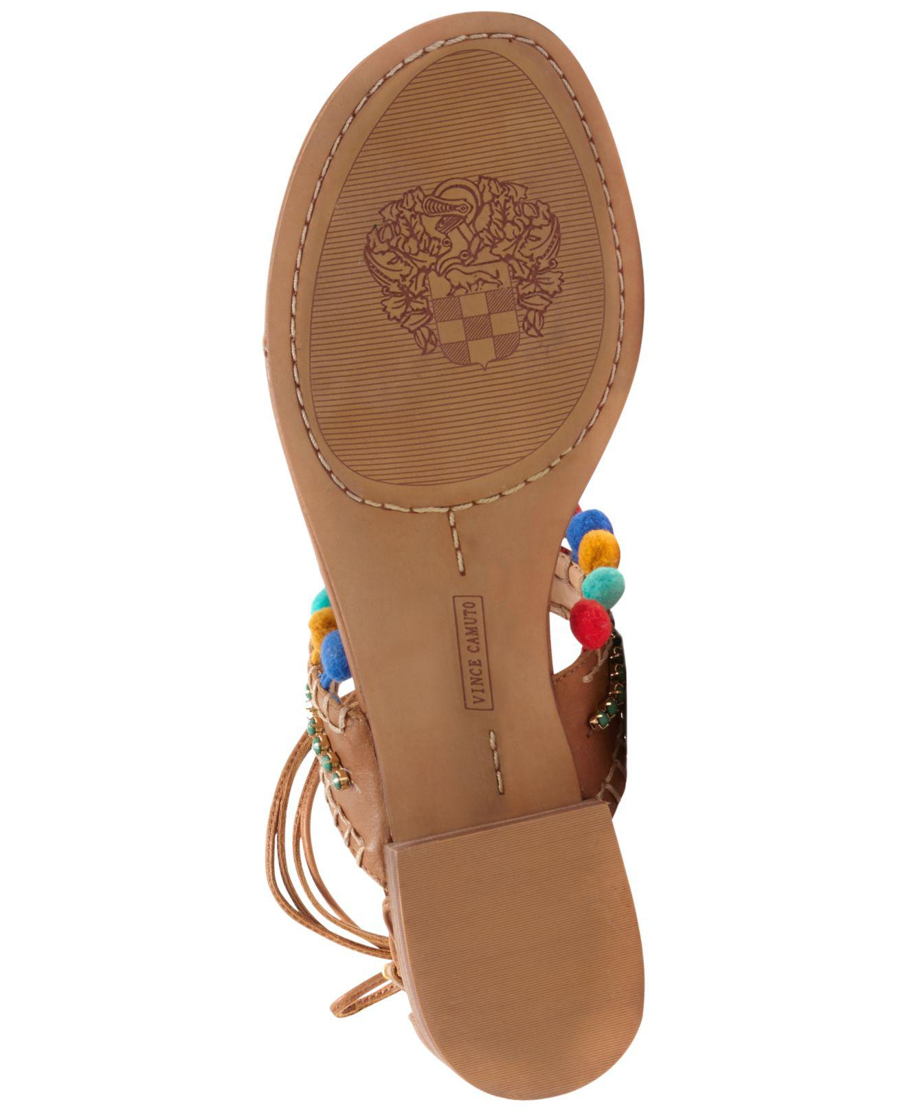 Vince Camuto Balisa Whiskey Multi Color Pom Pom Flat Tiw Up around Thong Sandals