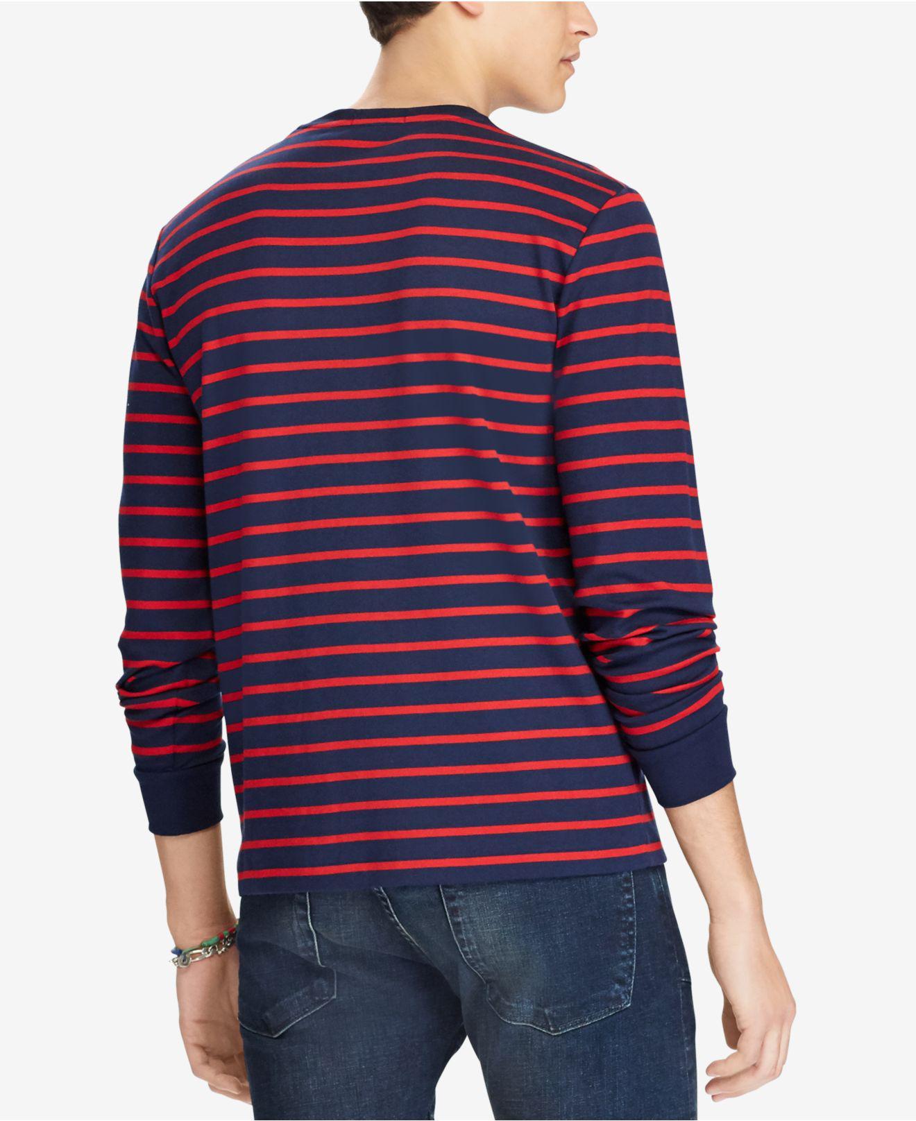 5d0736103 ... sale lyst polo ralph lauren custom slim fit striped long sleeve t shirt  for men save