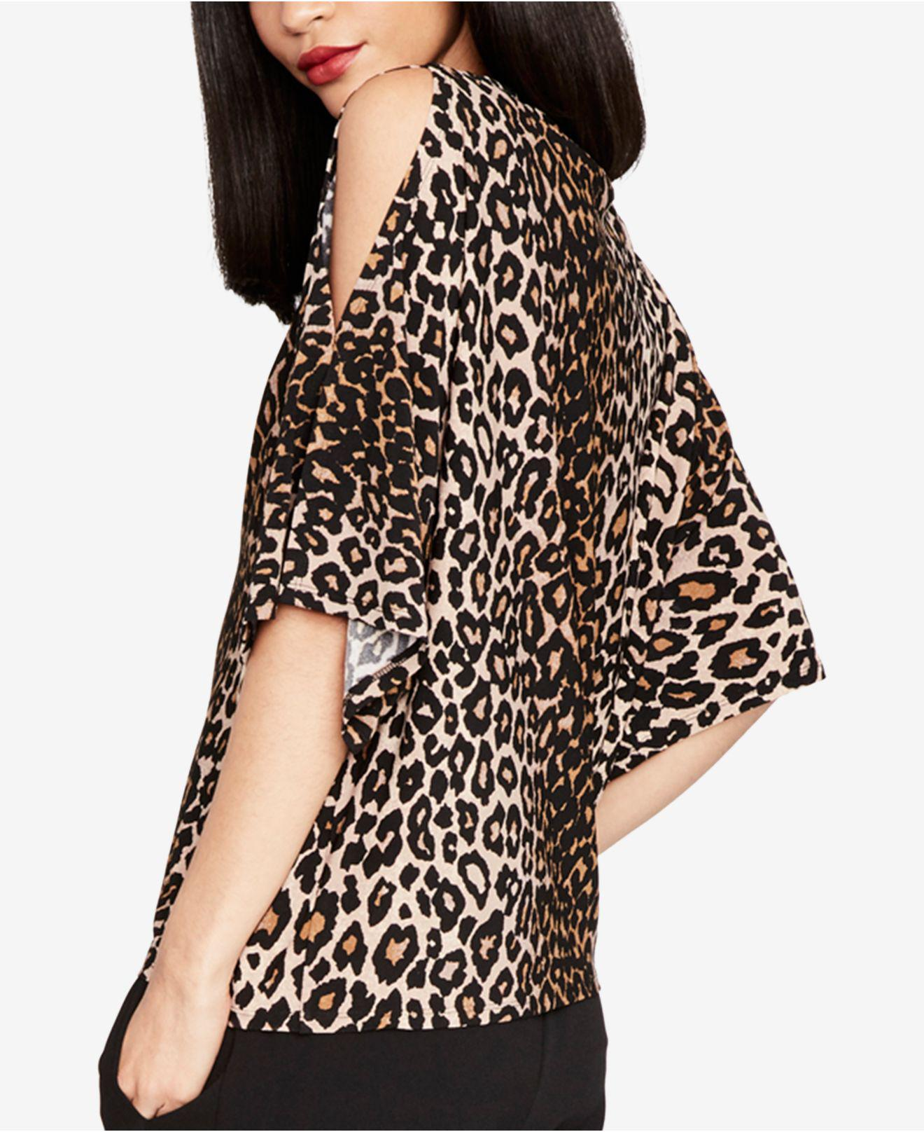 db8c8b34f952a Lyst - Rachel Rachel Roy Leopard-print Cold-shoulder Top in Black