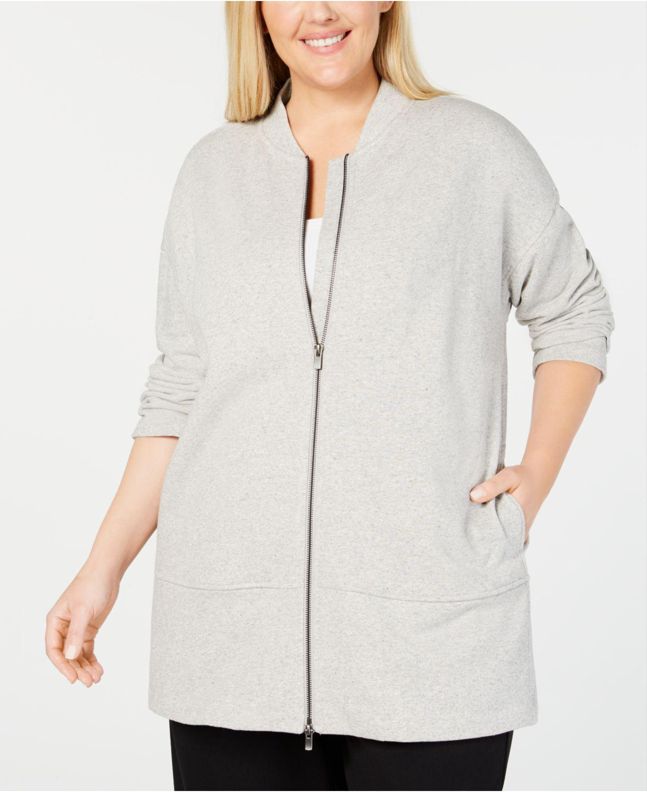 ebaefd62fc7 Lyst - Eileen Fisher Plus Size Cotton Terry Zippered Jacket in White