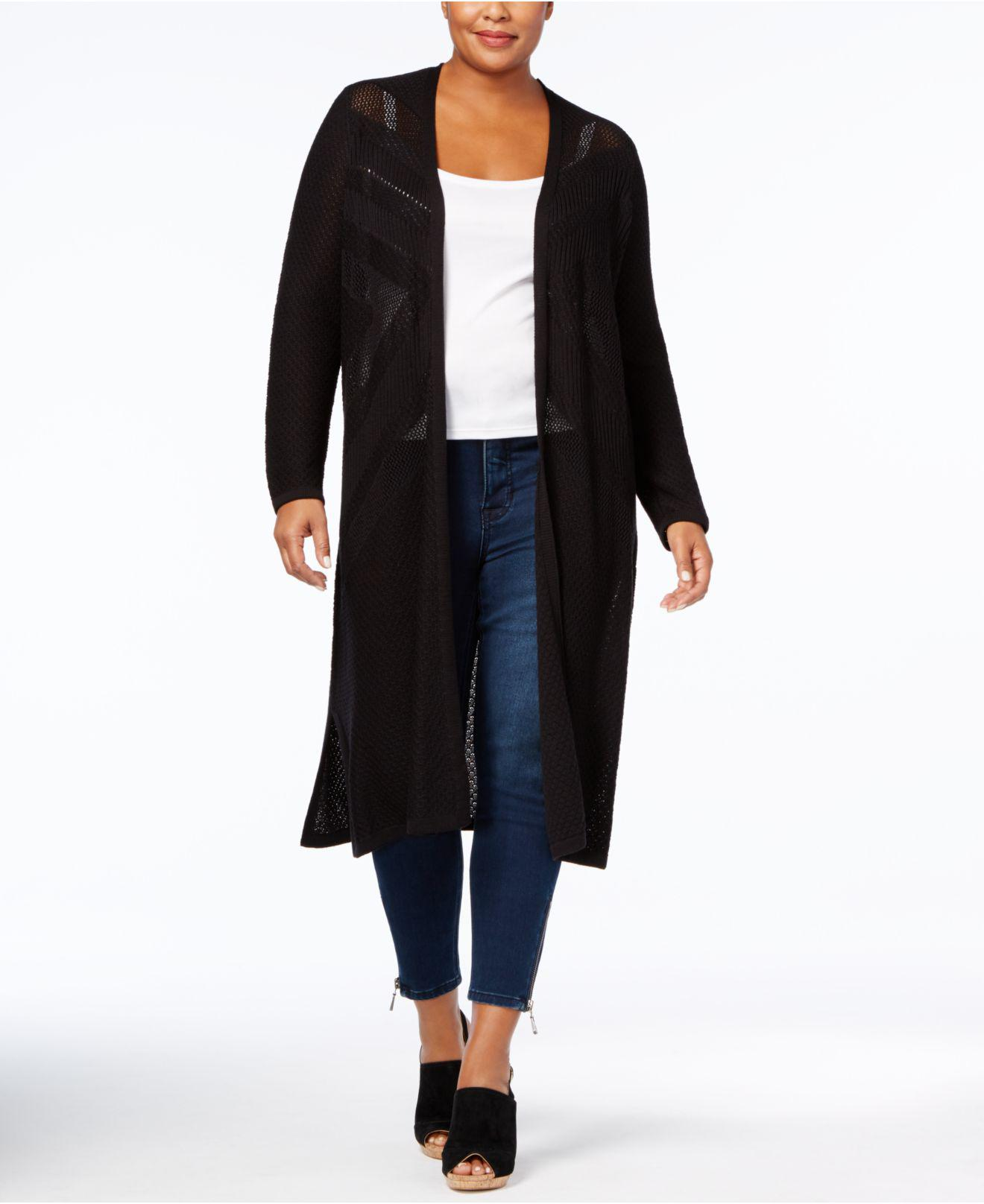 Style & co. Plus Size Open-front Duster Cardigan in Black | Lyst