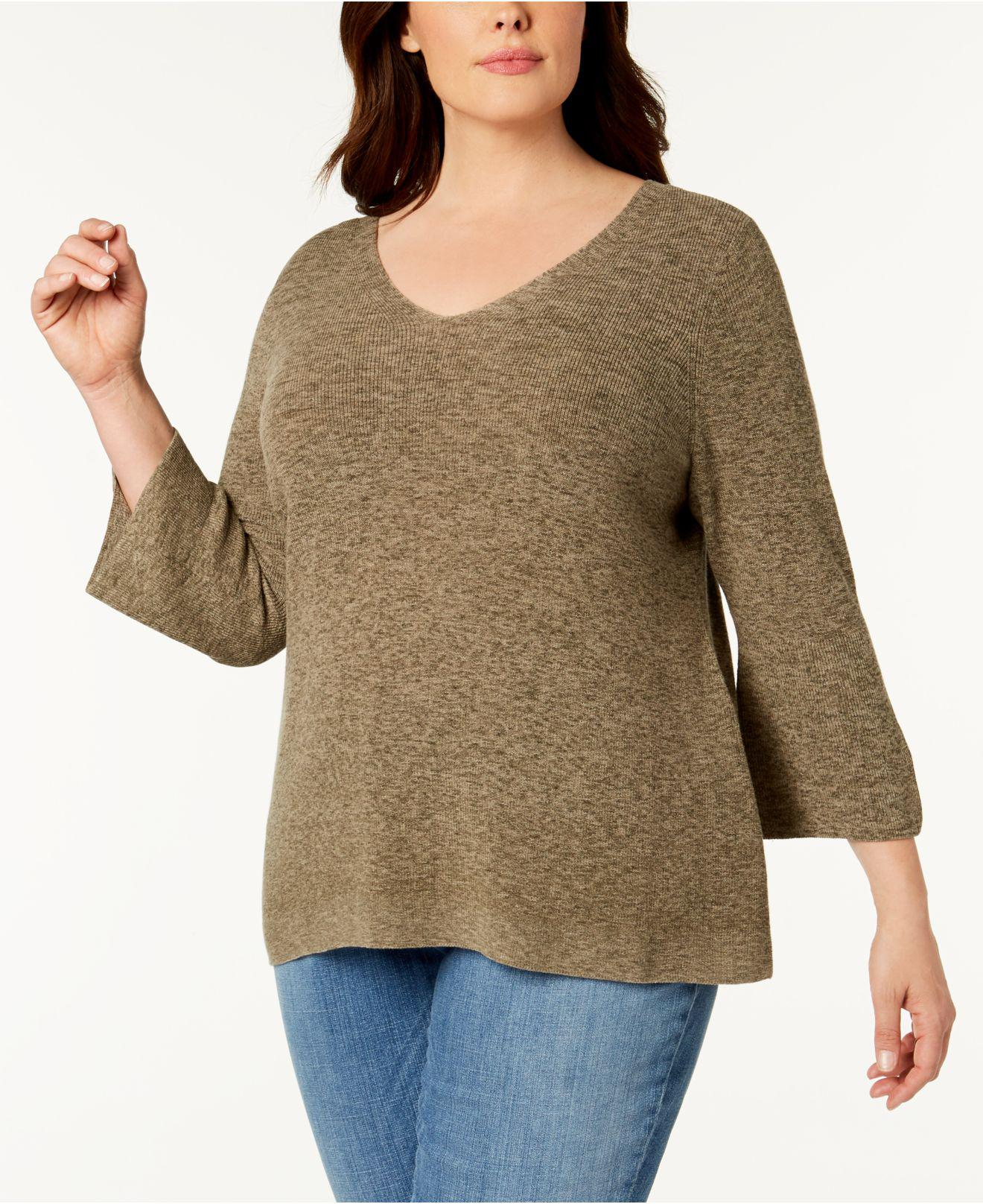f72a75e08a9764 Eileen Fisher Plus Size Organic Cotton Marled Bell-sleeve Sweater in ...