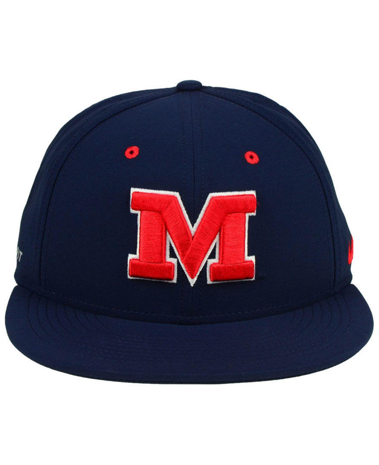 109229e2113 ... promo code for lyst nike ole miss rebels aerobill true fitted baseball  cap in blue for