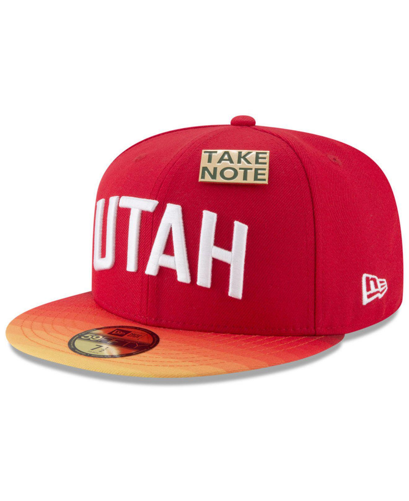 size 40 5f1fe fb48d Lyst - KTZ Utah Jazz City On-court 59fifty Fitted Cap in Red for Men