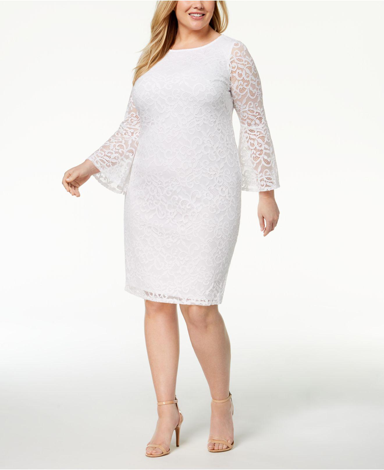 Plus Size Lace Bell-sleeve Sheath Dress, Created For Macy\'s