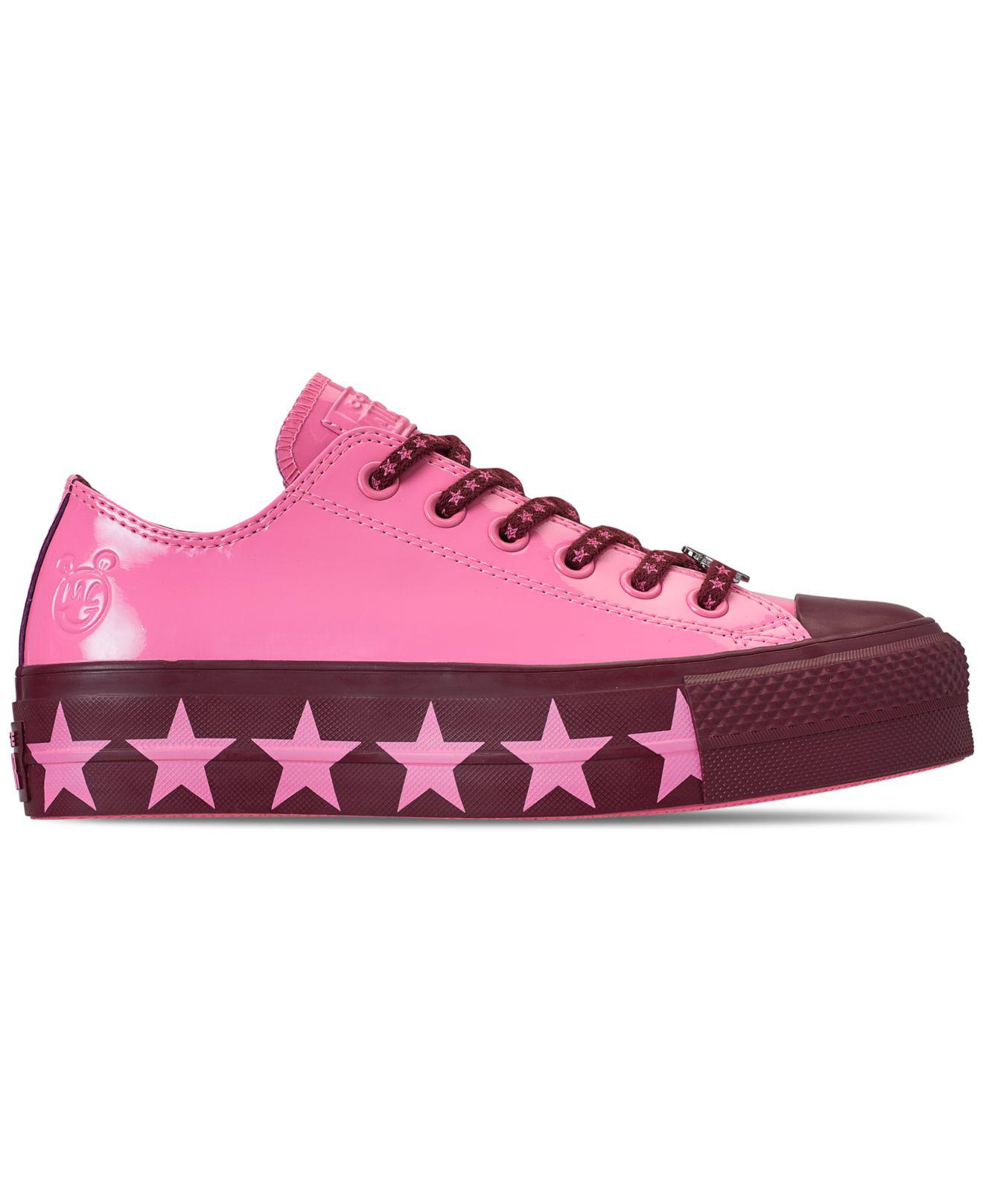 a3f222a18e9d Lyst - Converse X Miley Cyrus Chuck Taylor All Star Lift Ox Pink  Dark  Burgundy  Pink in Pink - Save 50%