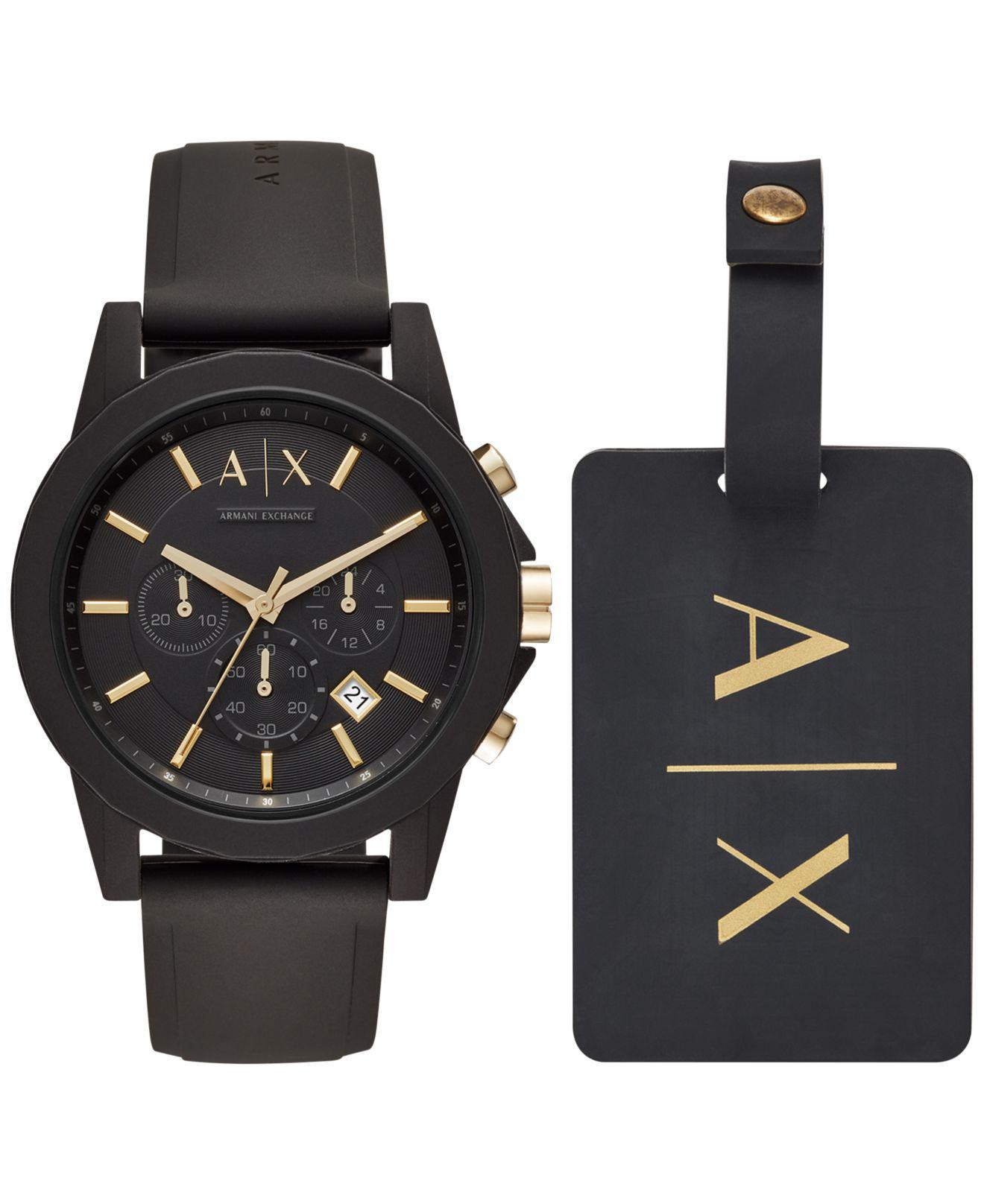 b46f4d47e433 Lyst - Armani Exchange Ax7105 Outerbanks Watch And luggage Tag Set ...