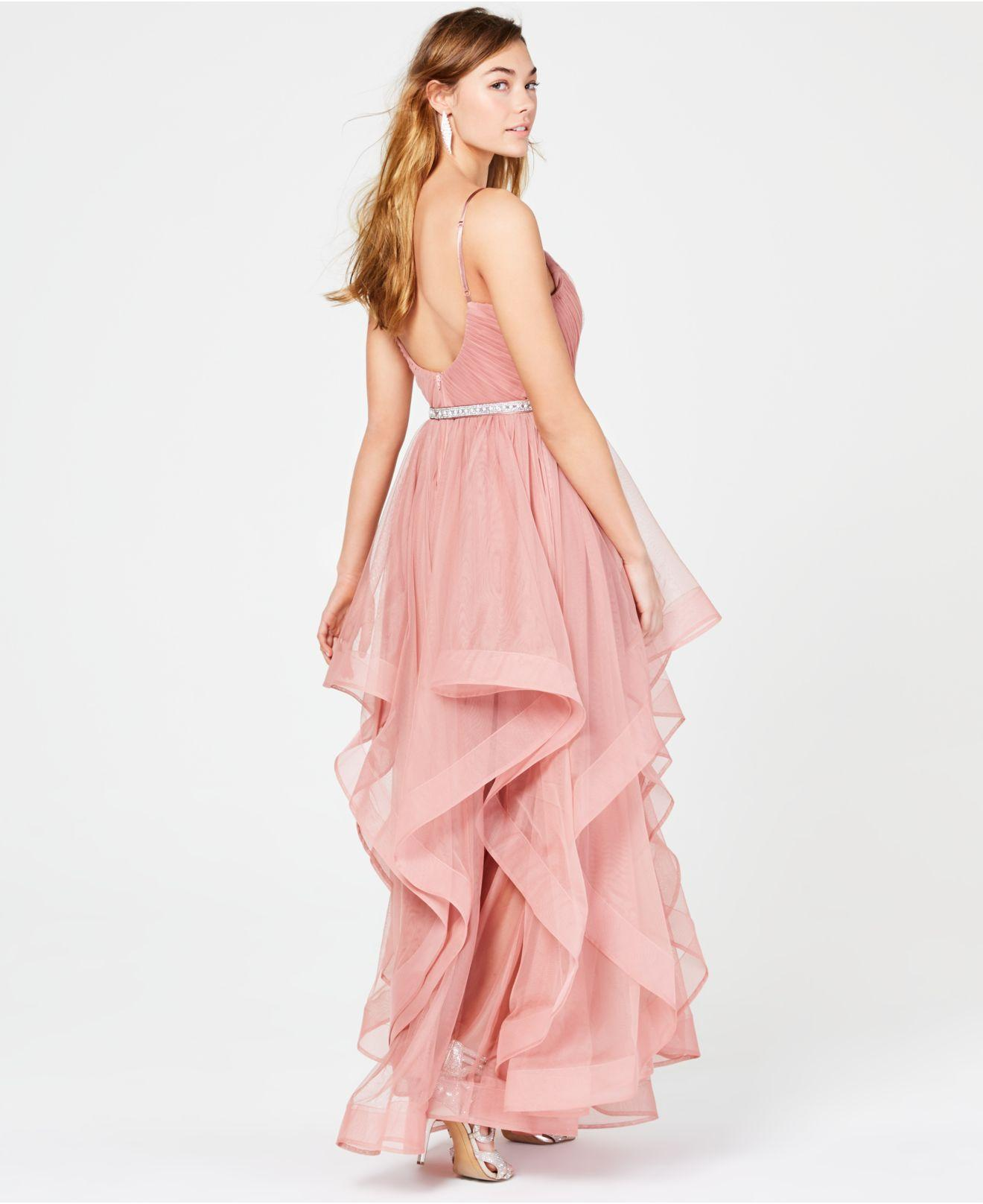 7941a7b2343 Sequin Hearts Juniors  Rhinestone-belted Layered Gown in Pink - Lyst