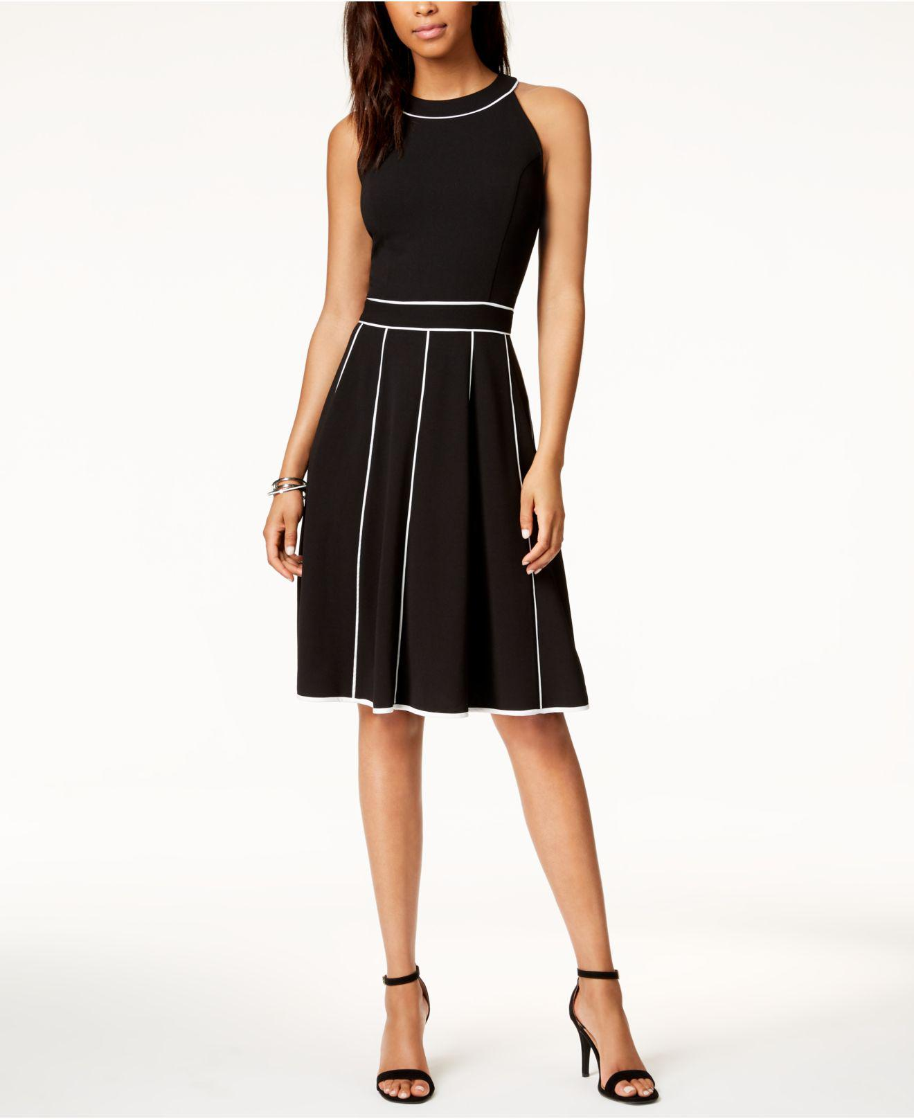 Tommy Hilfiger Synthetic Piped Fit Amp Flare Dress Created