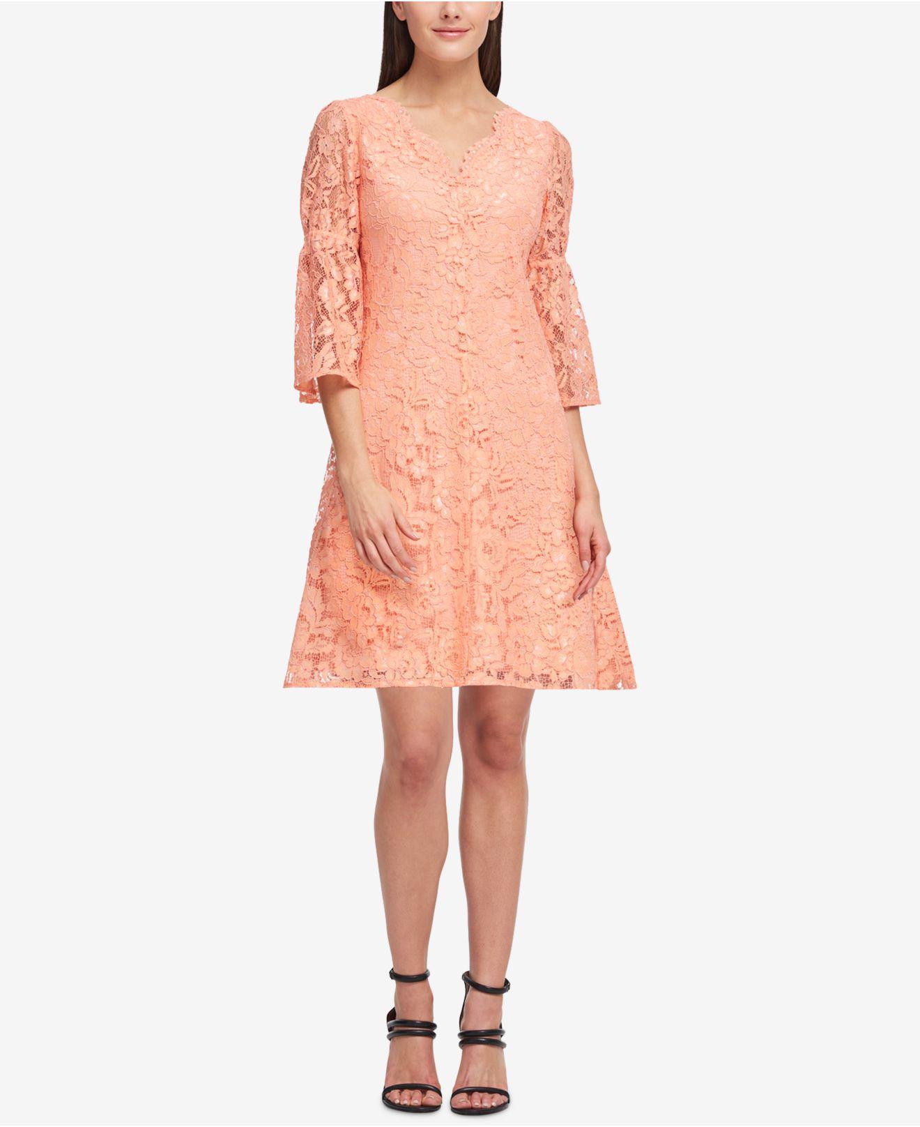 Dkny Pink Lace A Line Dress Created For Macys