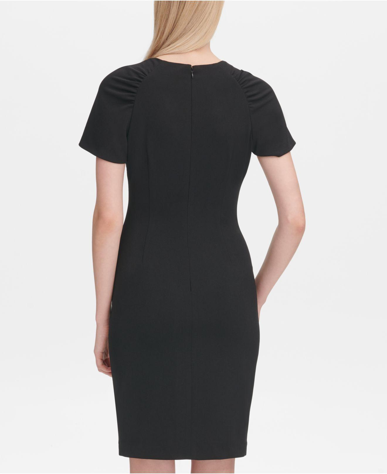 862c442e Calvin Klein Gathered-shoulder Sheath Dress in Black - Lyst