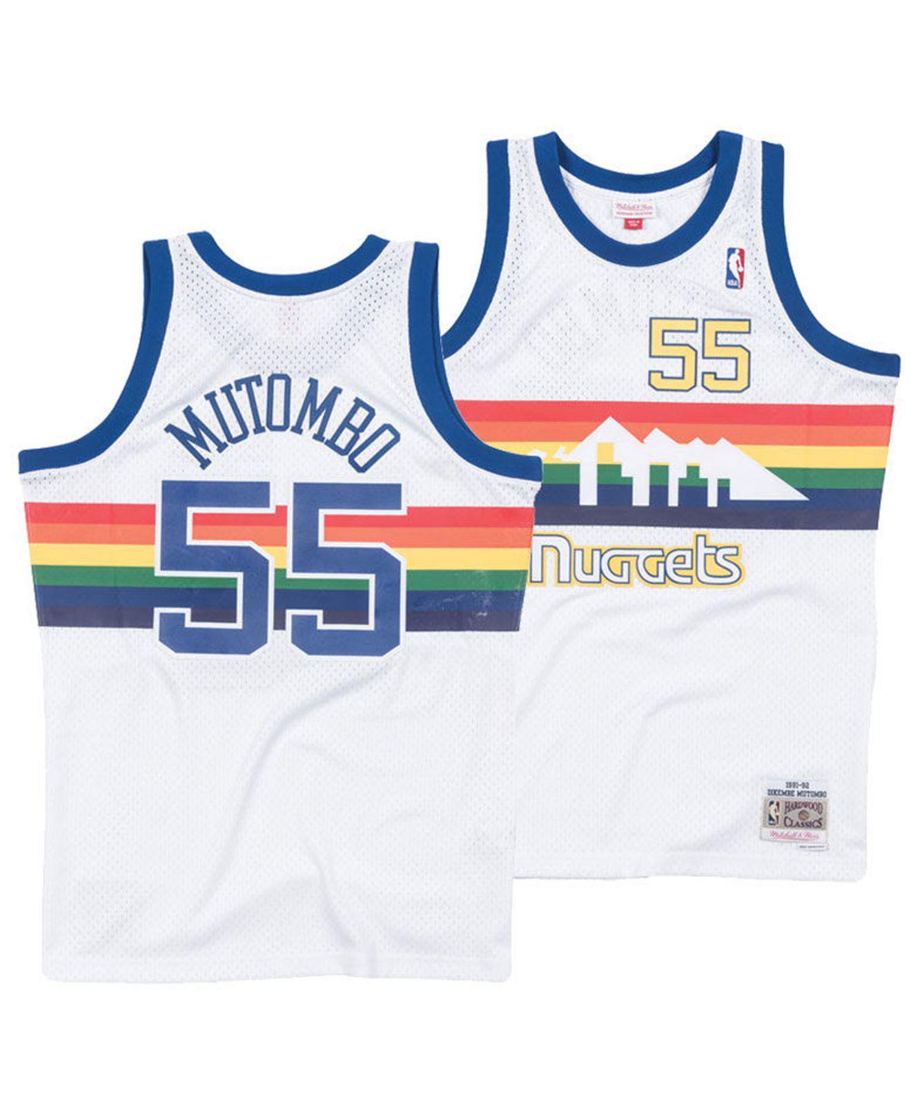 newest d3205 42b1e Men's White Dikembe Mutombo Denver Nuggets Hardwood Classic Swingman Jersey