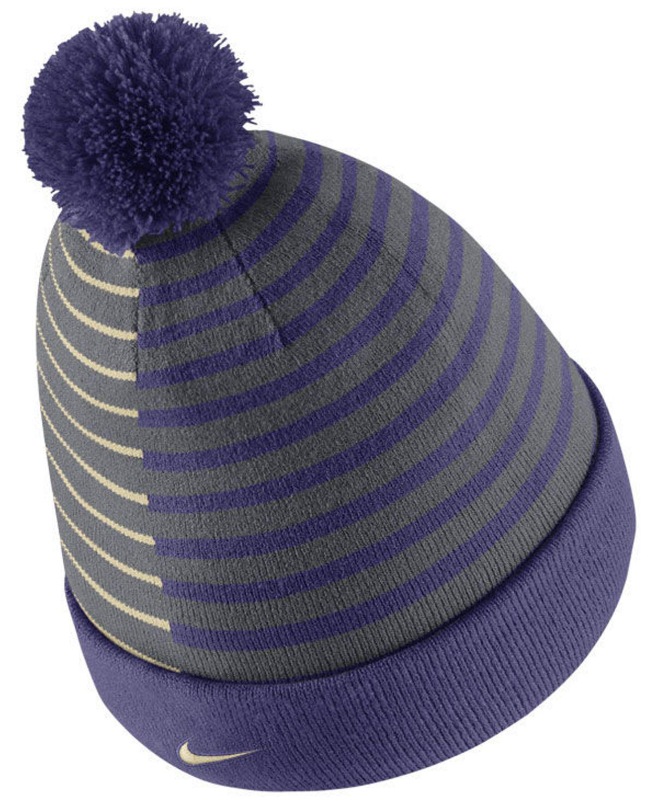 info for c0e74 5bdac ... discount code for lyst nike washington huskies striped beanie knit hat  in blue for men 4e41a