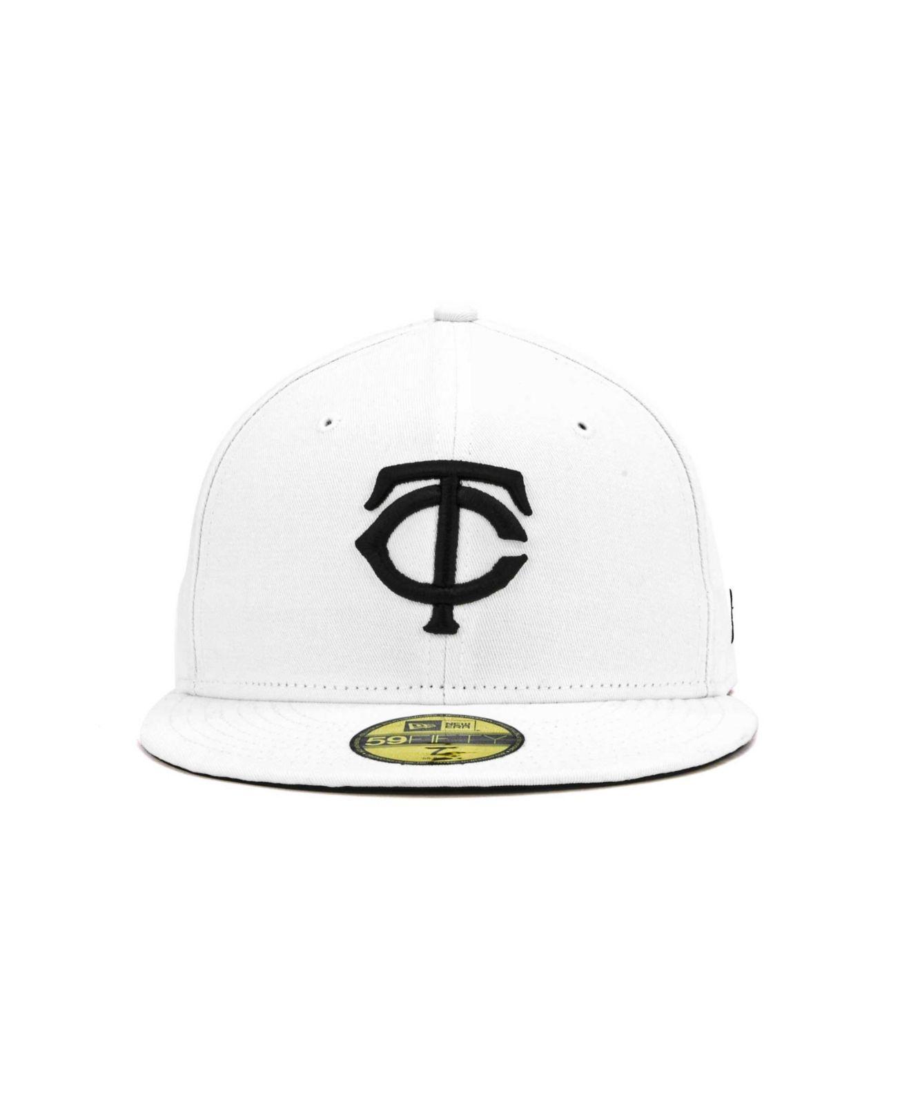 buy online eb394 595e6 Lyst - KTZ Minnesota Twins Mlb White And Black 59fifty Cap in White ...