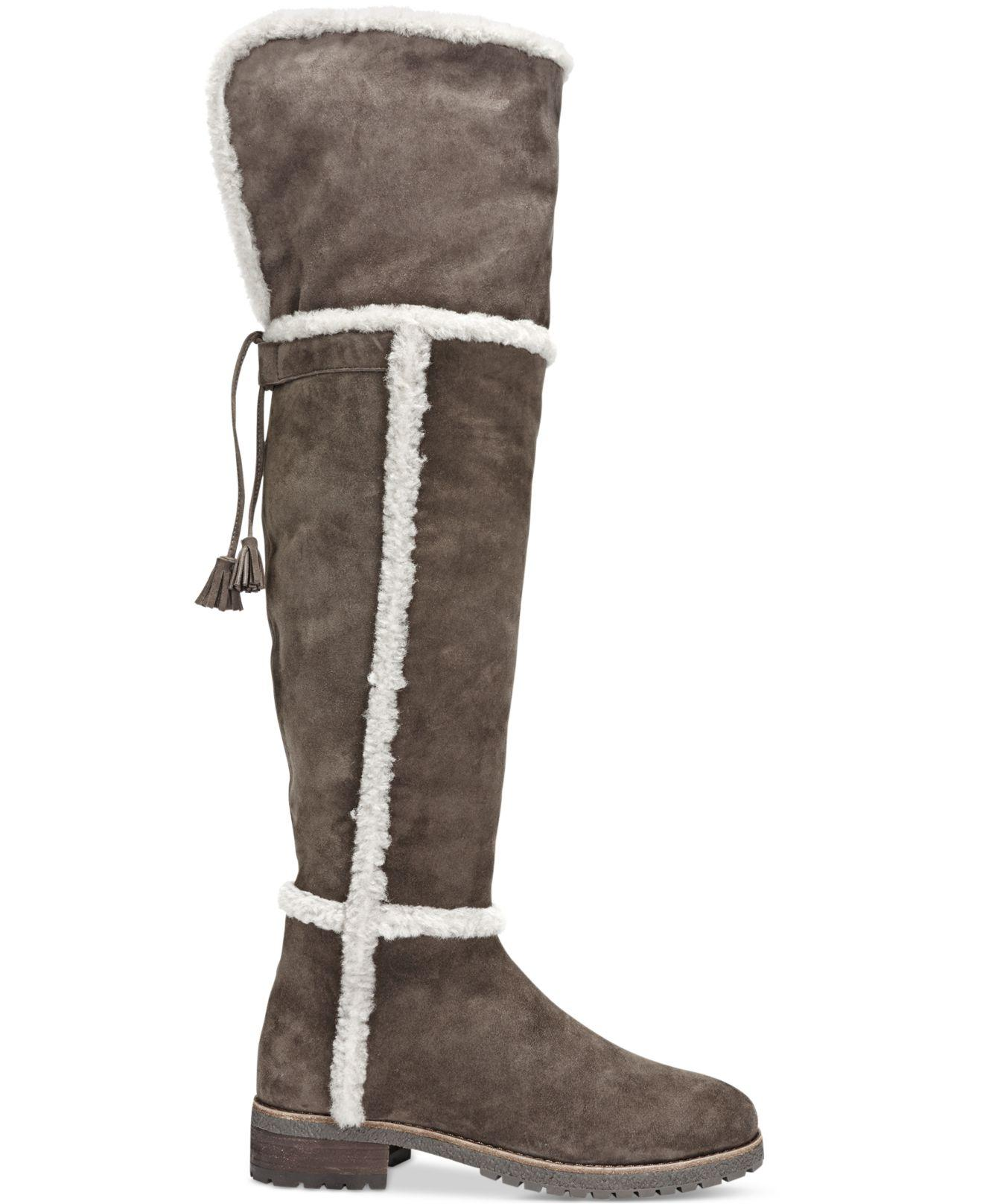 648c7e06e7c Lyst - Frye Women s Tamara Shearling Over-the-knee Boots in Brown