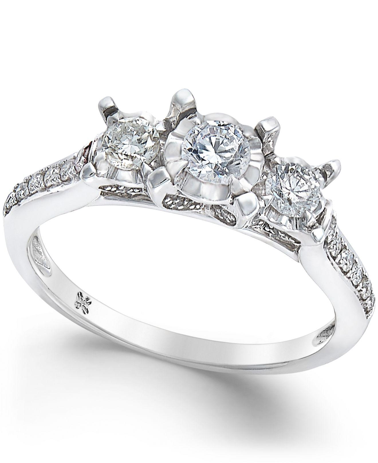 Macy's Diamond 3-stone Engagement Ring (1/2 Ct. T.w.) In