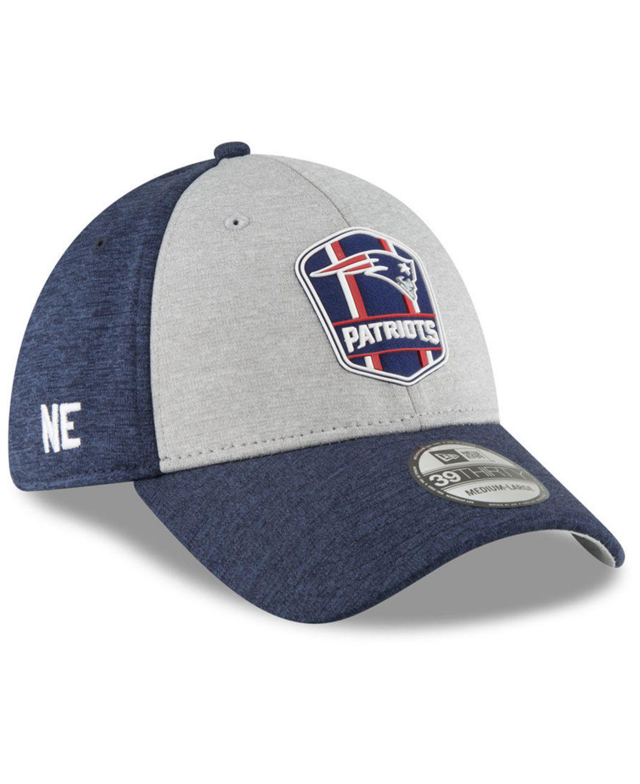 KTZ. Men s Blue New England Patriots On Field Sideline Road 39thirty  Stretch Fitted Cap aae2e461c