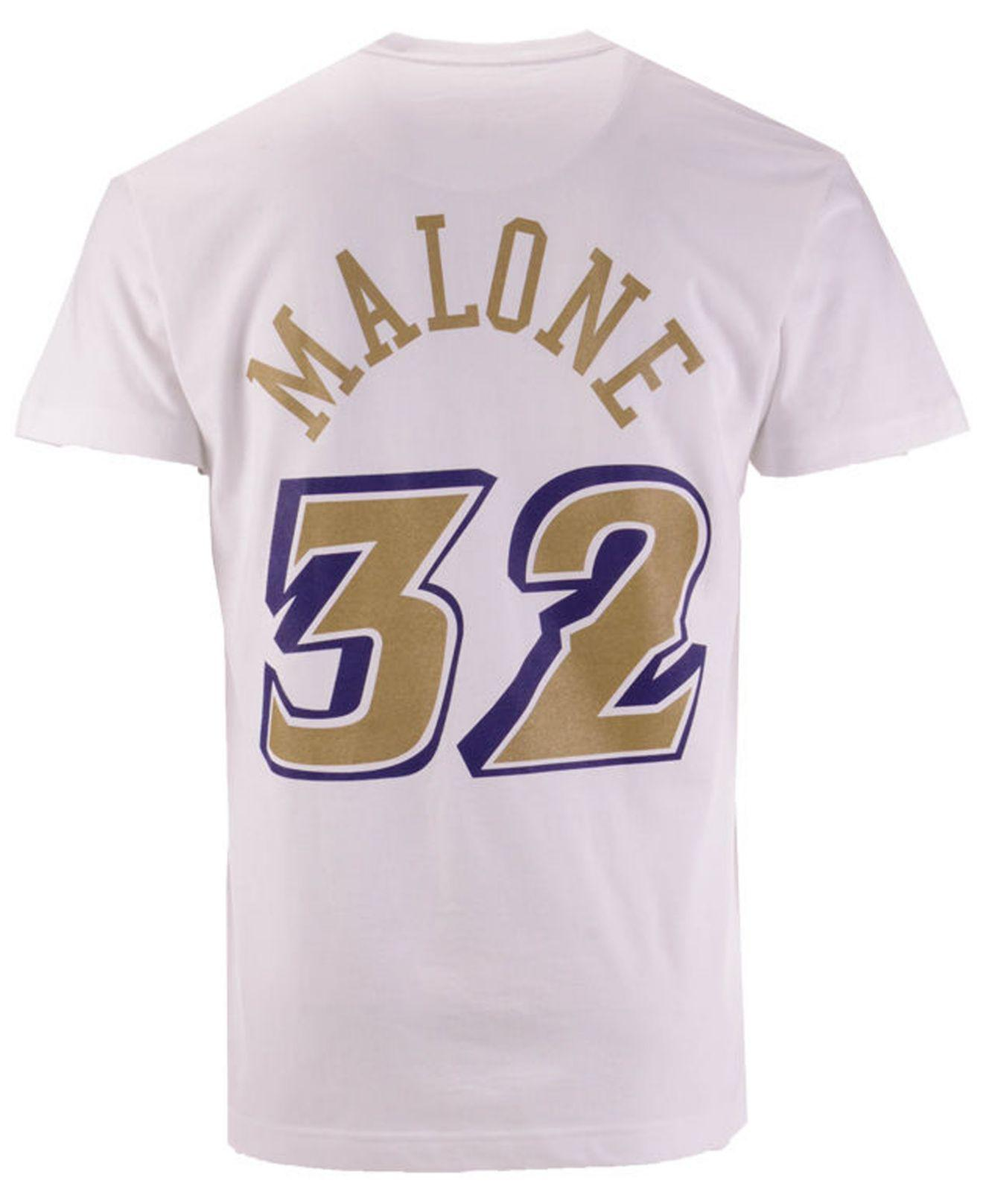 buy online d5a9c 00cc9 Mitchell & Ness White Karl Malone Utah Jazz Gold Collection Name And Number  T-shirt for men