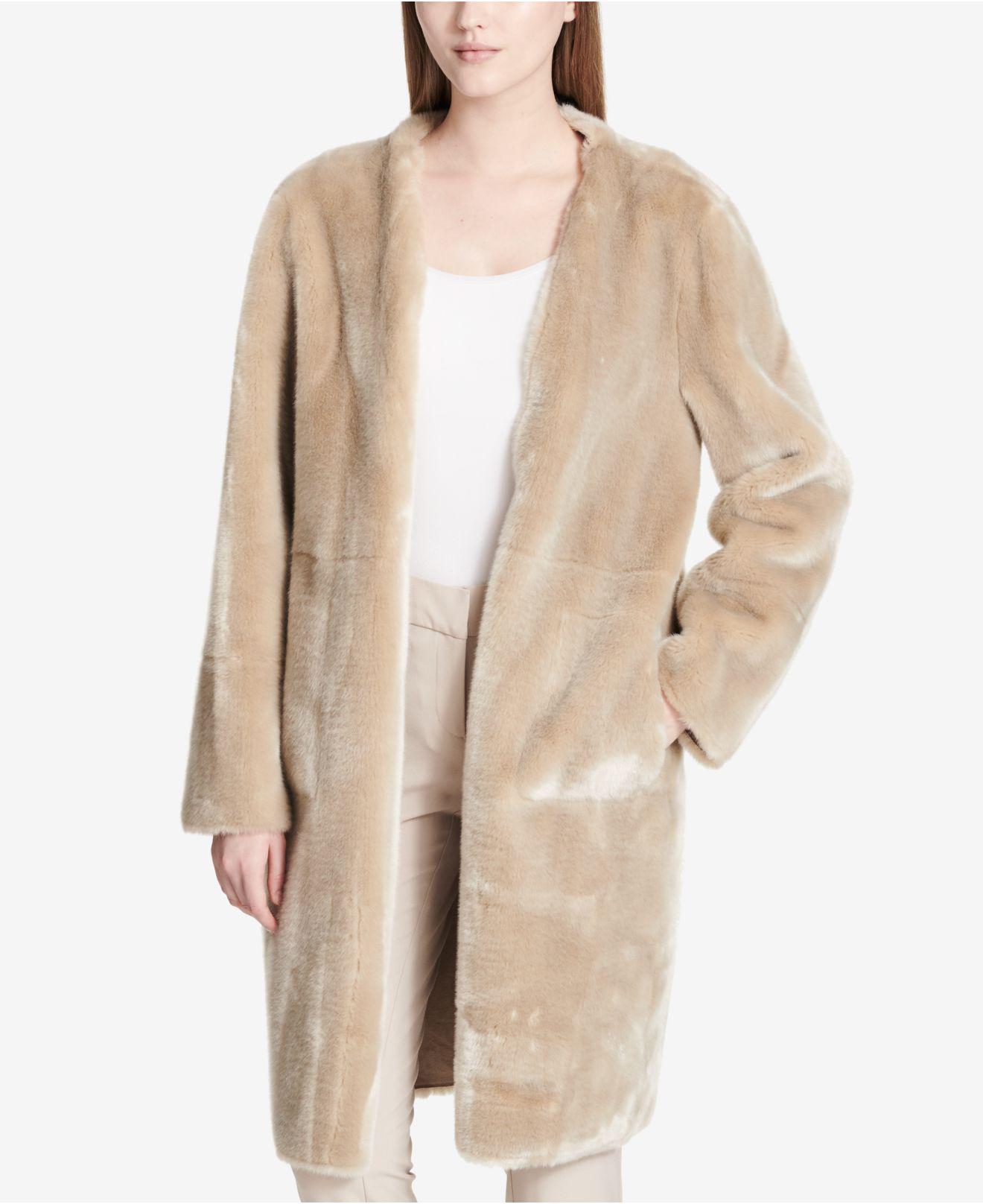 32bc0849bd2f Lyst - Calvin Klein Long Reversible Faux-fur Jacket in Natural