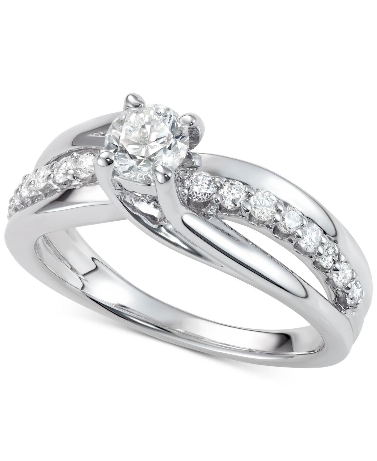 Macys Wedding Rings   Lyst Macy S Diamond Elevated Twist Engagement Ring 7 8 Ct T W